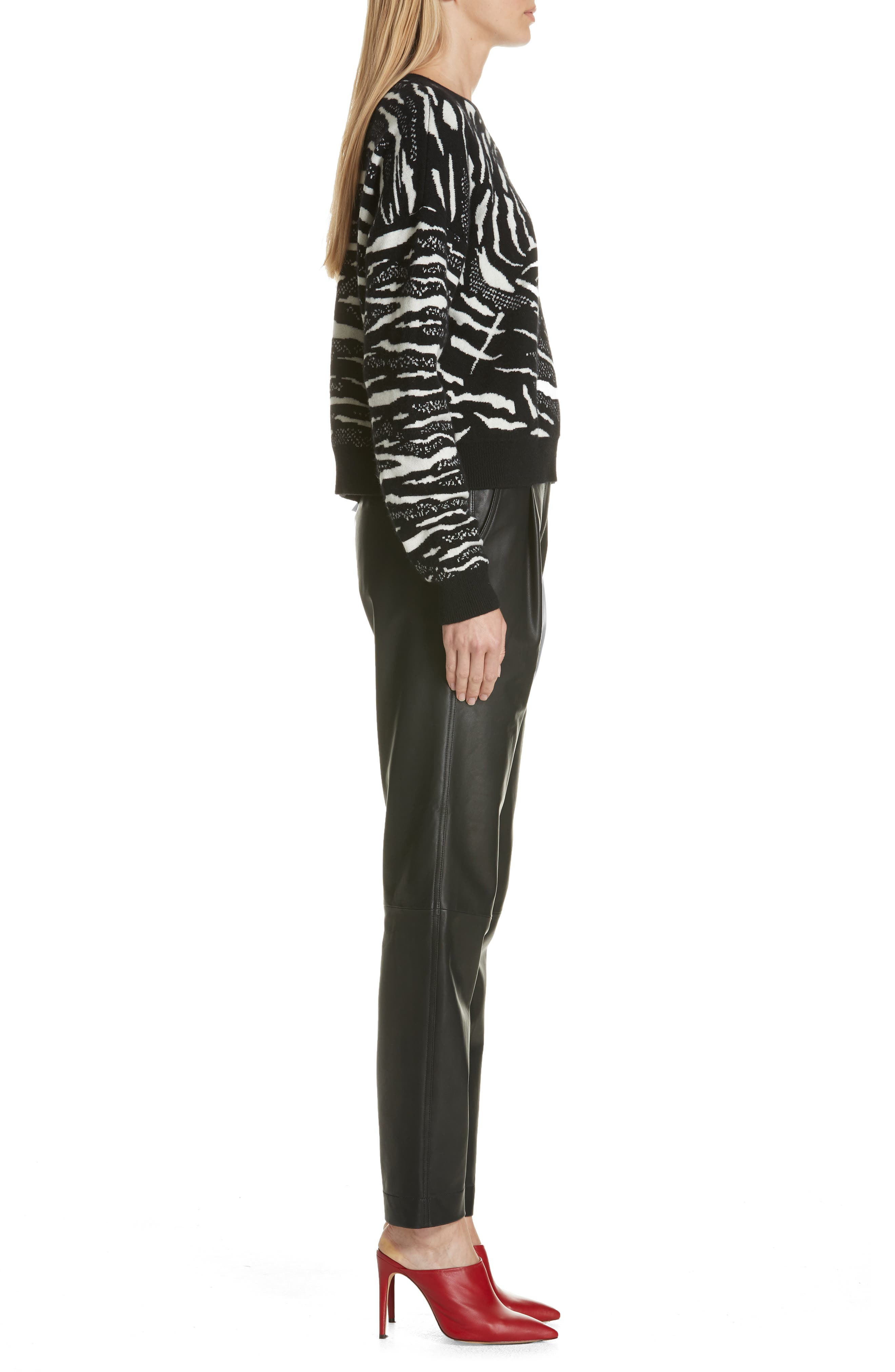 Wool & Cashmere Sweater,                             Alternate thumbnail 3, color,                             BLACK/ WHITE