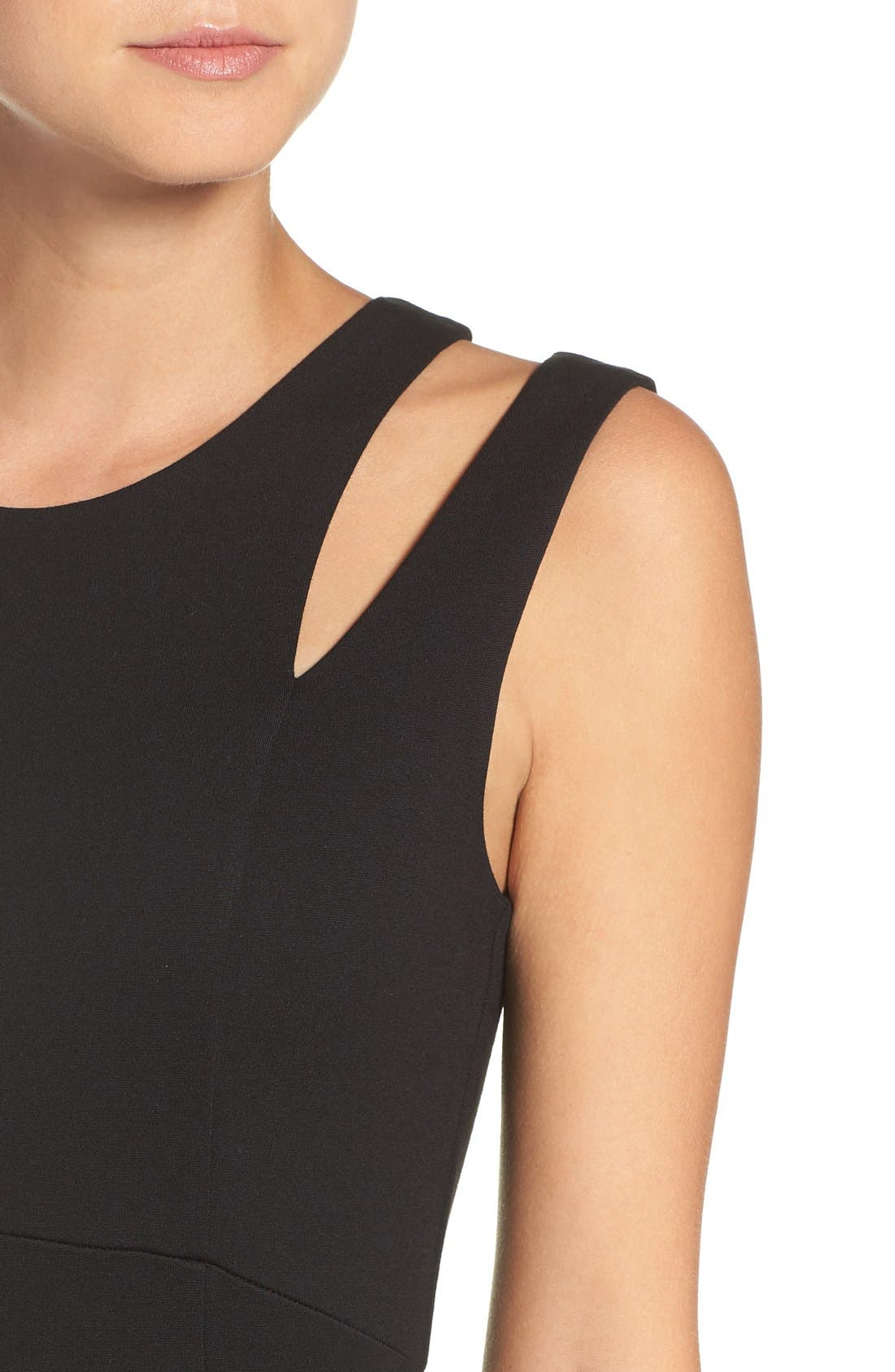 Shoulder Detail Ponte Sheath Dress,                             Alternate thumbnail 2, color,