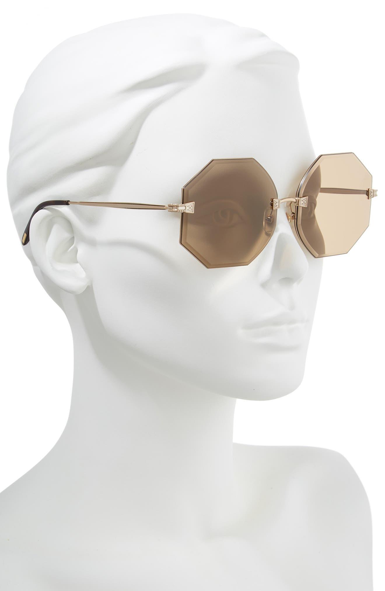 Gem 64mm Oversize Geometric Sunglasses,                             Alternate thumbnail 2, color,                             ANTIQUE GOLD/ BROWN SOLID