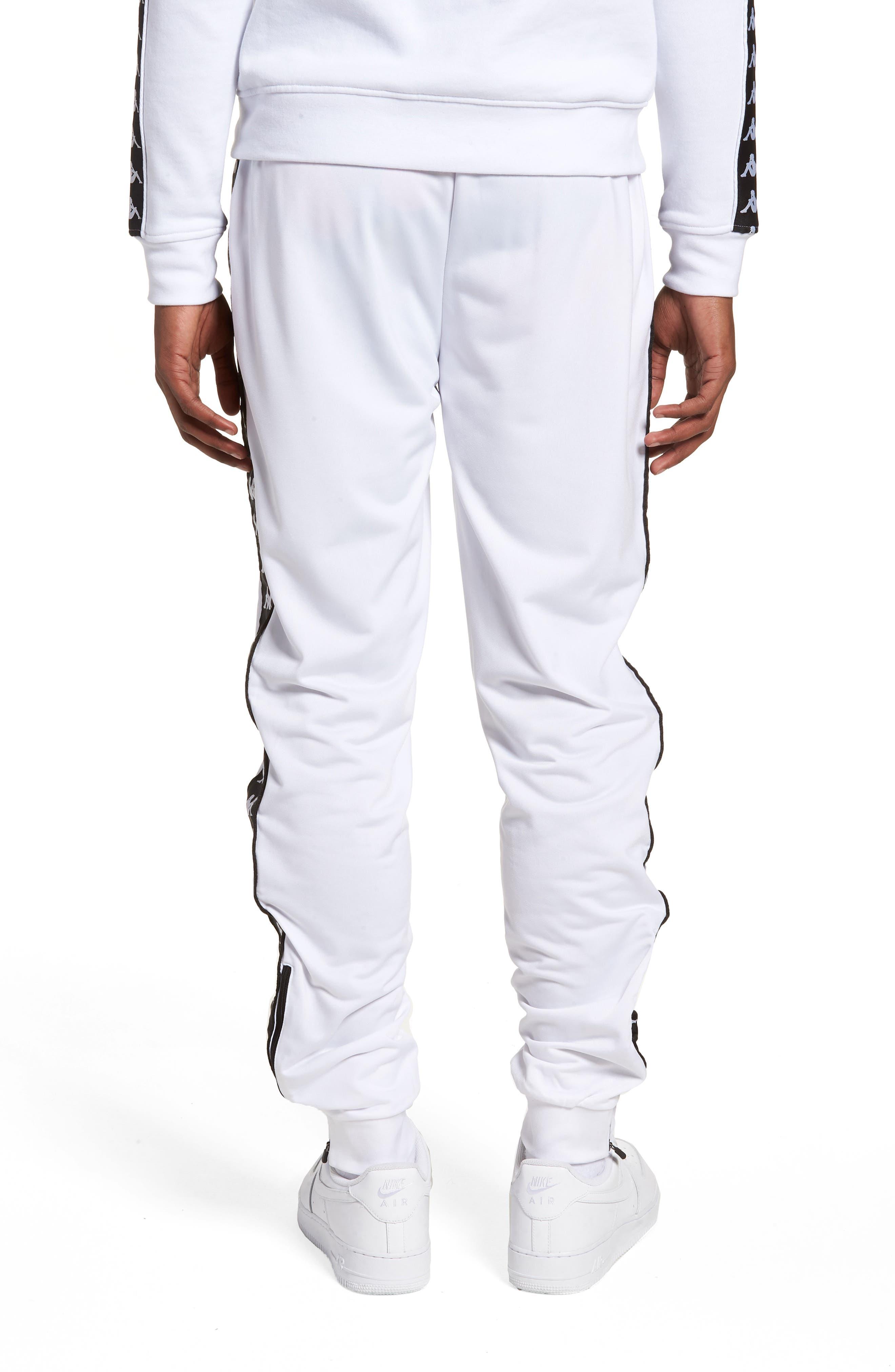 Active Banded Track Pants,                             Alternate thumbnail 2, color,                             WHITE/ BLACK