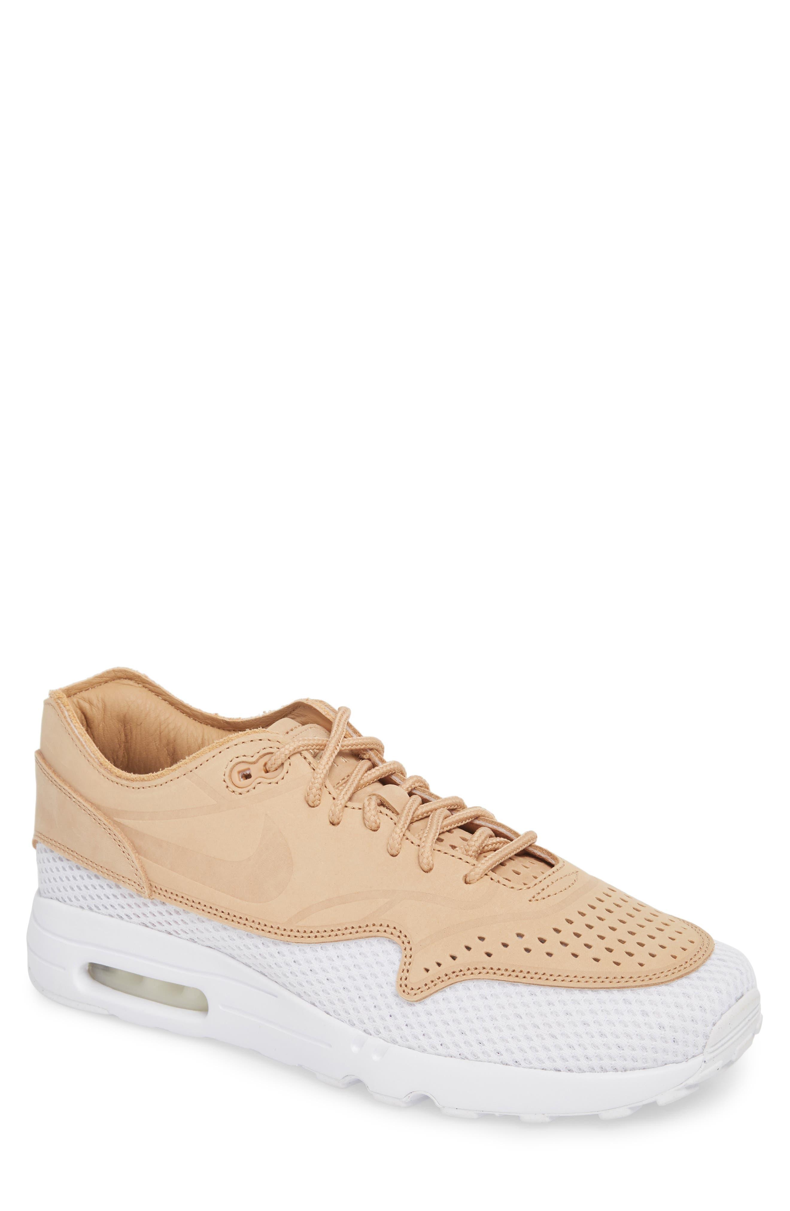 Air Max 1 Ultra 2.0 Premium Sneaker,                             Main thumbnail 1, color,                             VACHETTA TAN/ WHITE