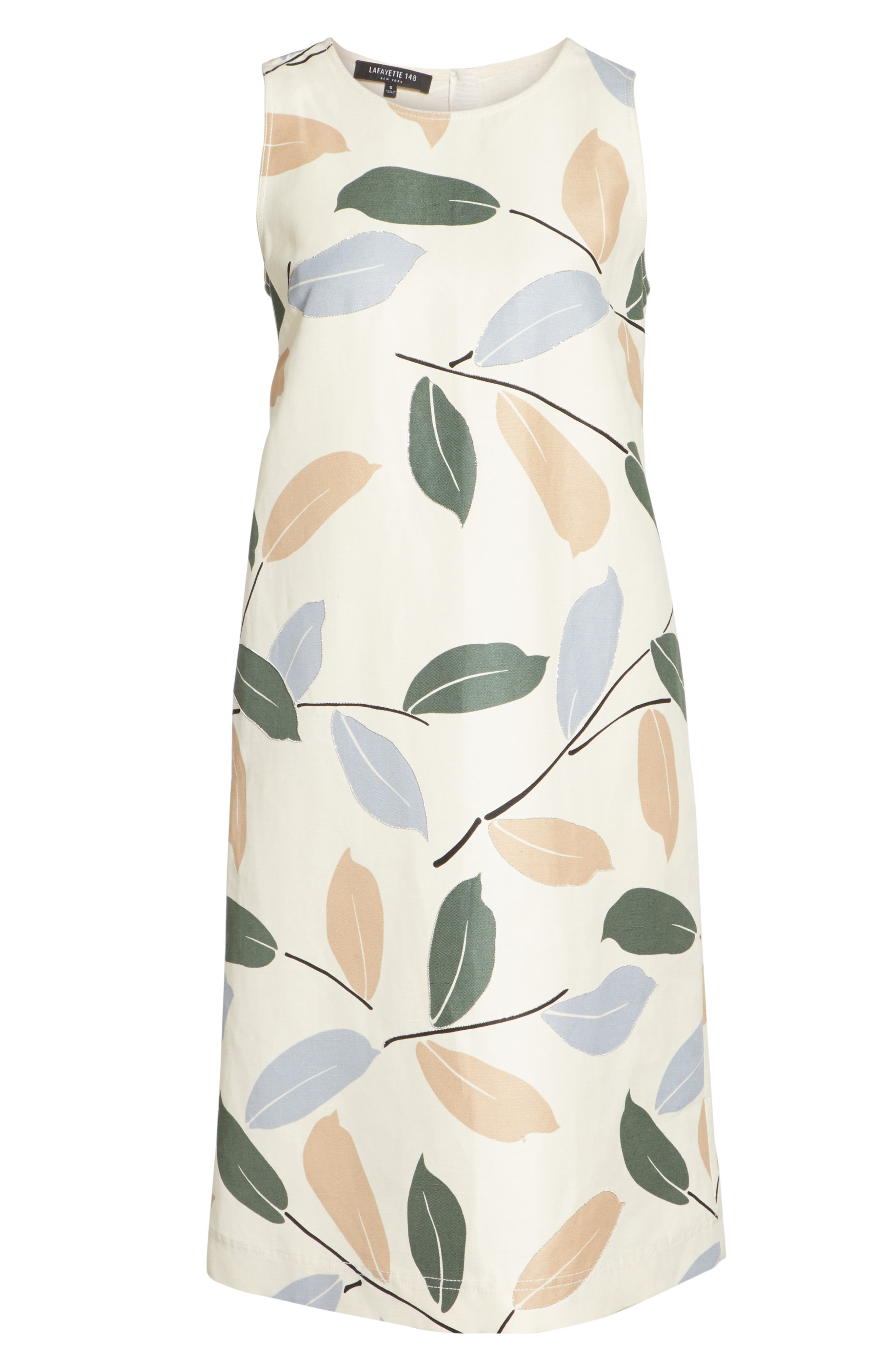 Hana Linen & Cotton Shift Dress,                             Alternate thumbnail 6, color,                             RAFFIA MULTI