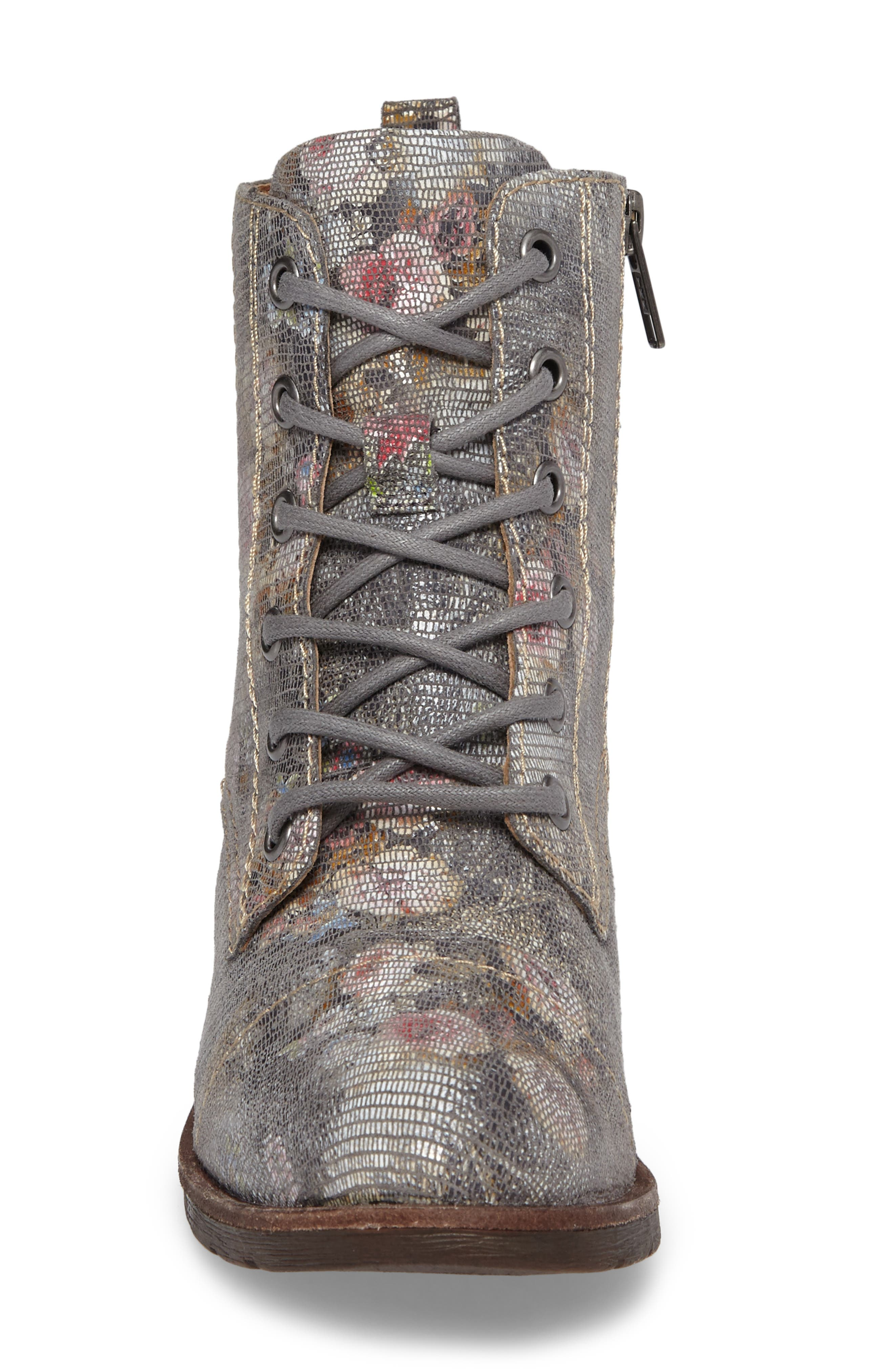 Belton Cap Toe Combat Boot,                             Alternate thumbnail 4, color,                             GREY LEATHER