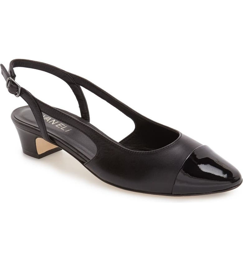 'Aliz' Slingback Pump, Main, color, BLACK LEATHER