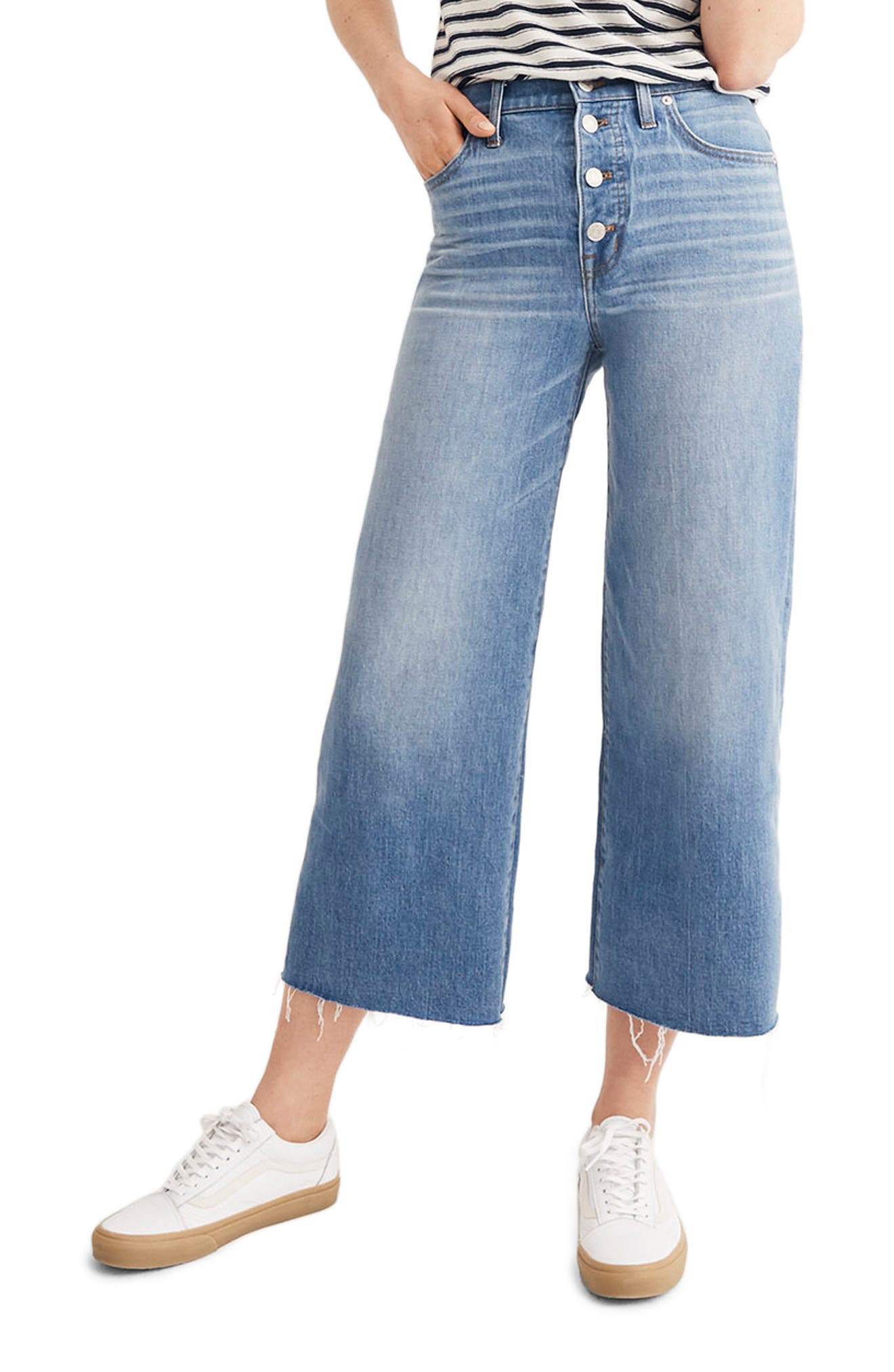 Button Front Wide Leg Crop Jeans,                         Main,                         color, MARTINA WASH