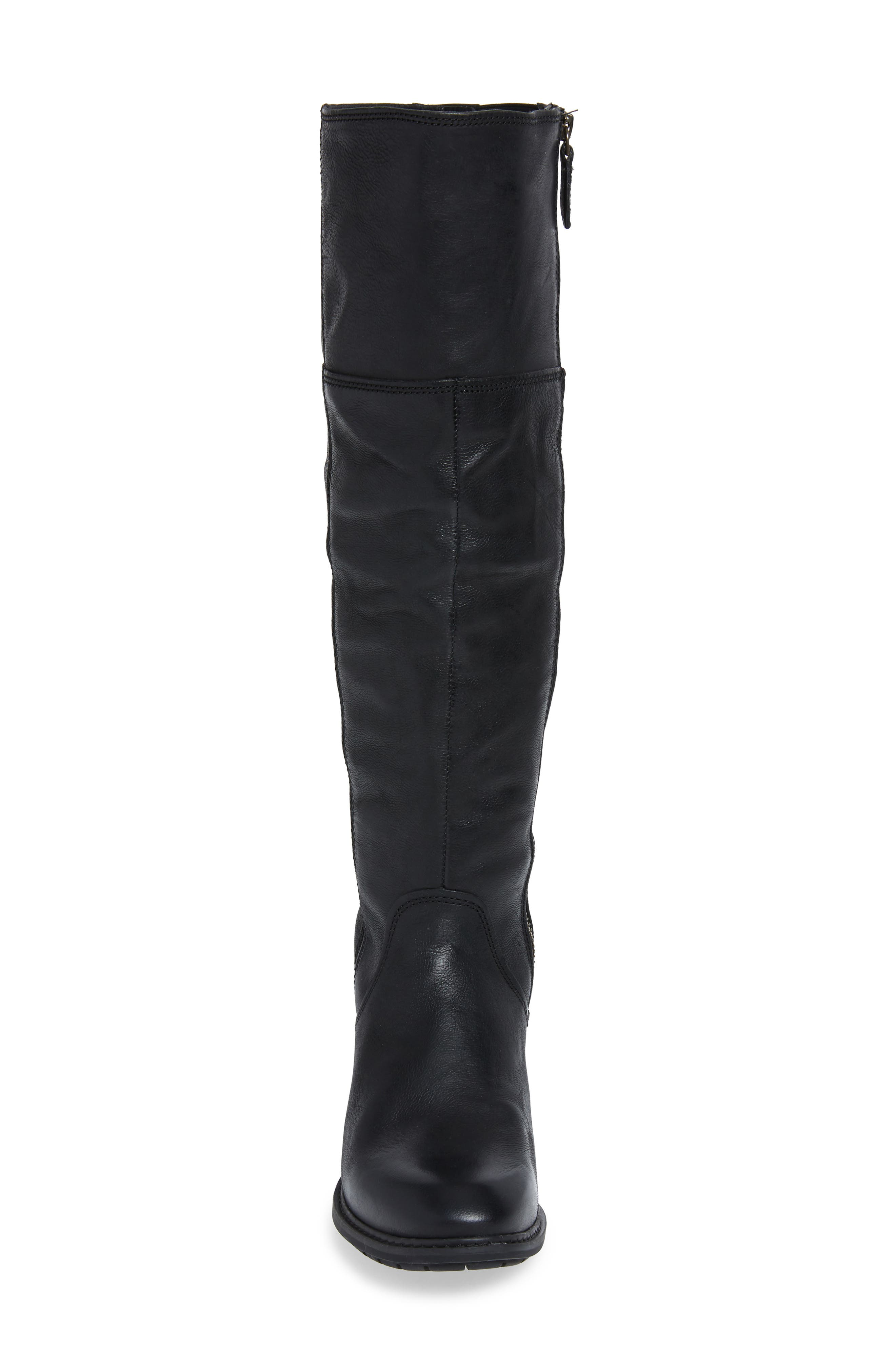 Sutherlin Bay Slouch Knee High Boot,                             Alternate thumbnail 4, color,                             JET BLACK LEATHER
