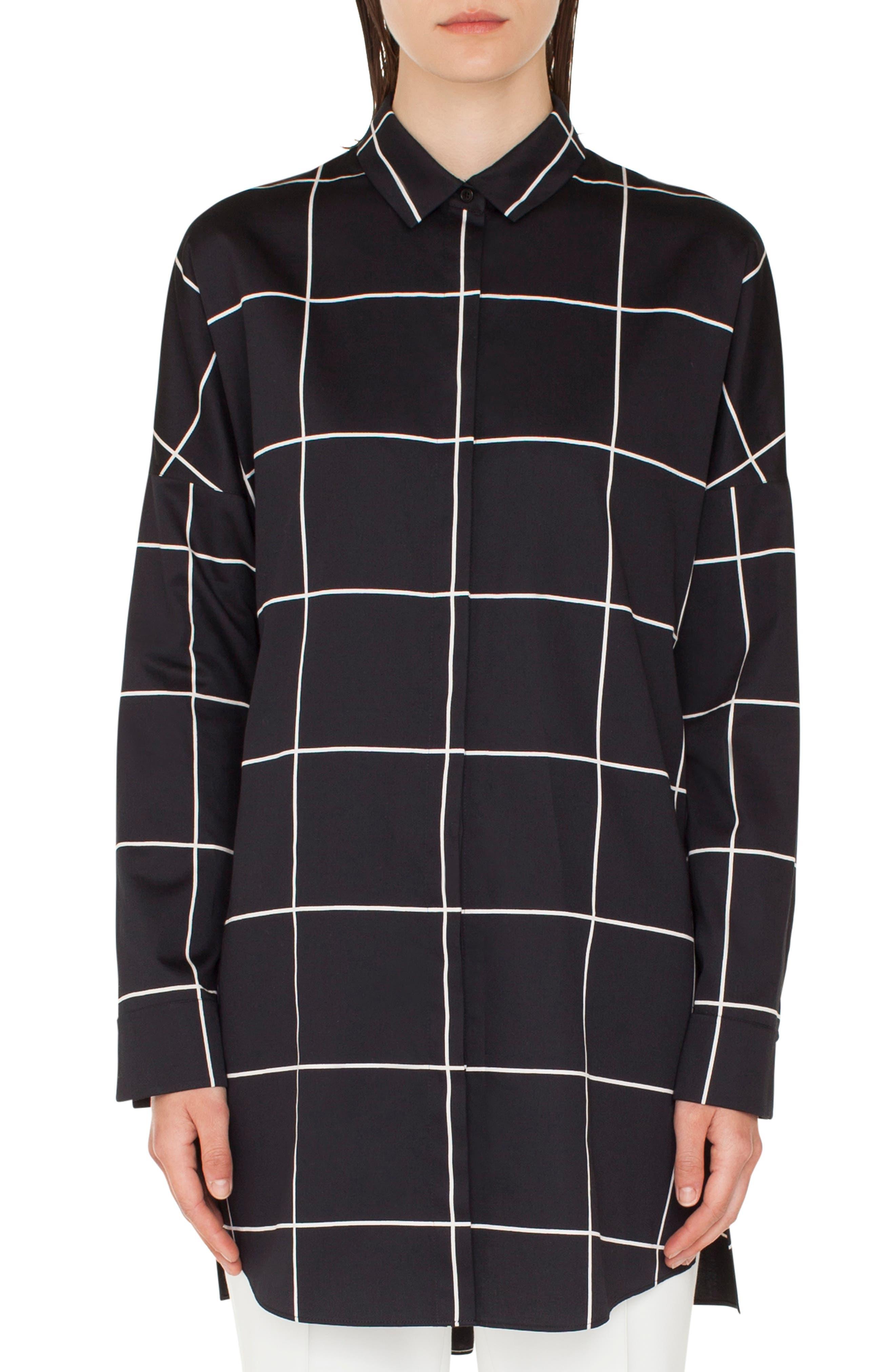 Checkered Button-Front Tunic in Nero-Crema