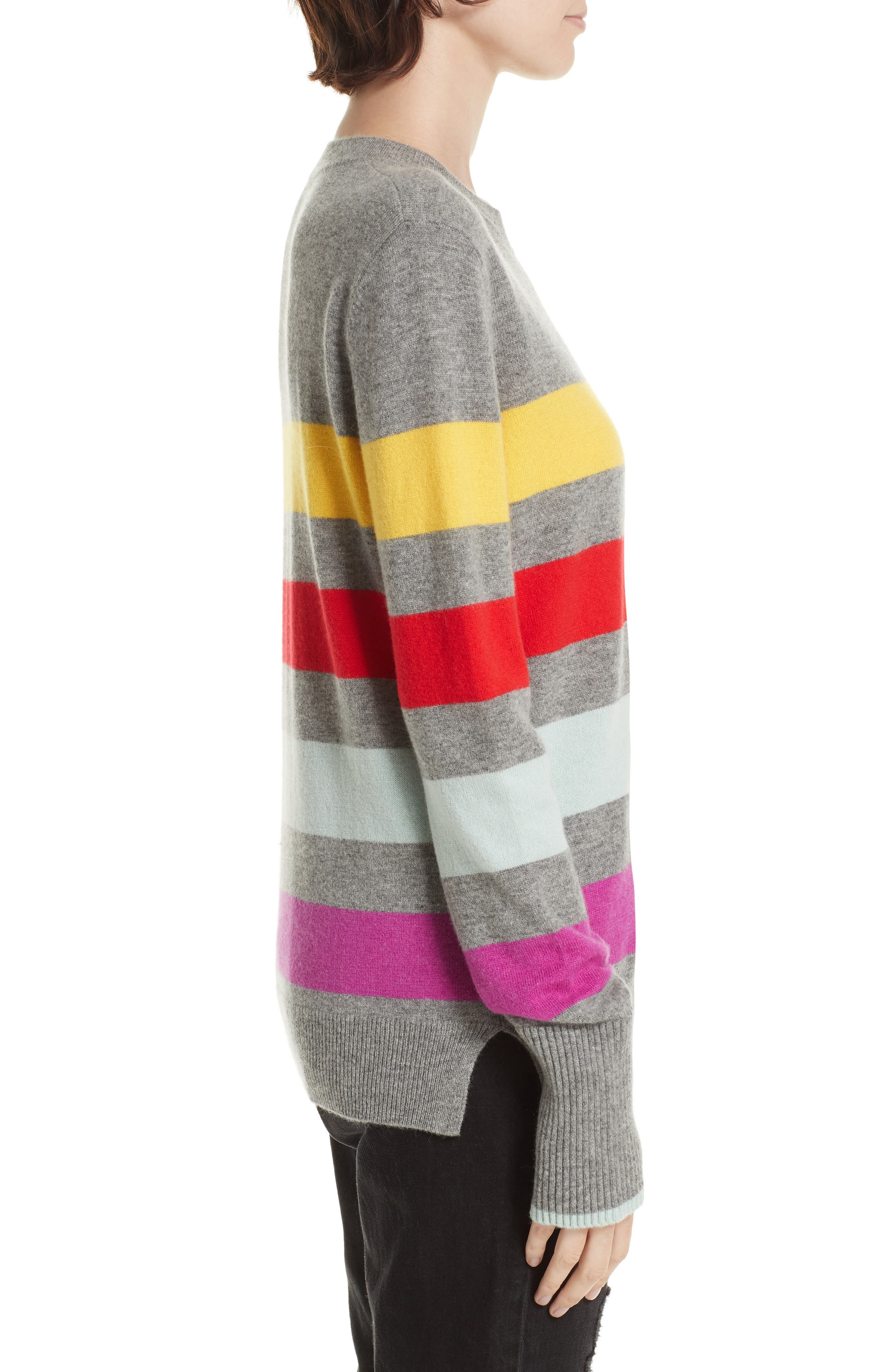 Candy Stripe Sweater,                             Alternate thumbnail 3, color,                             GREY MARLE/ RAINBOW