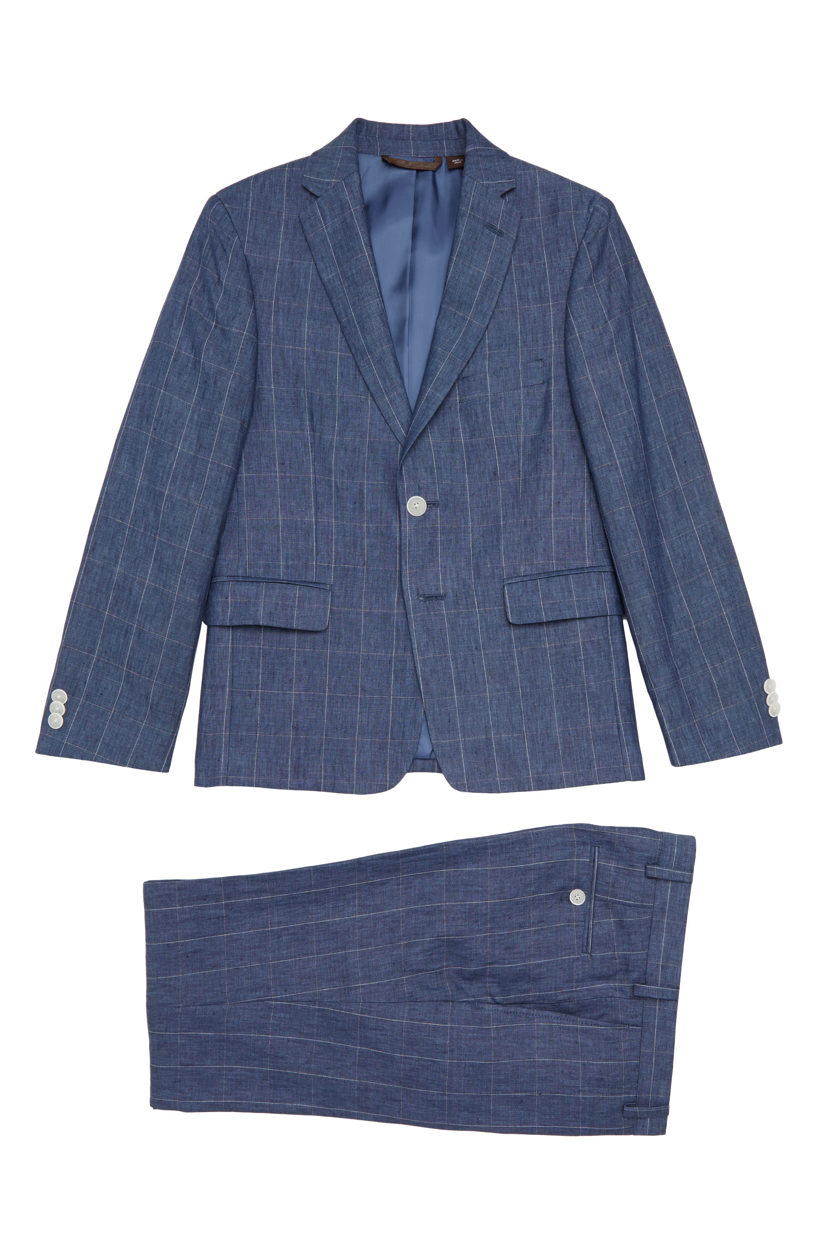 Collection Two-Piece Linen Suit,                             Main thumbnail 1, color,                             BLUE