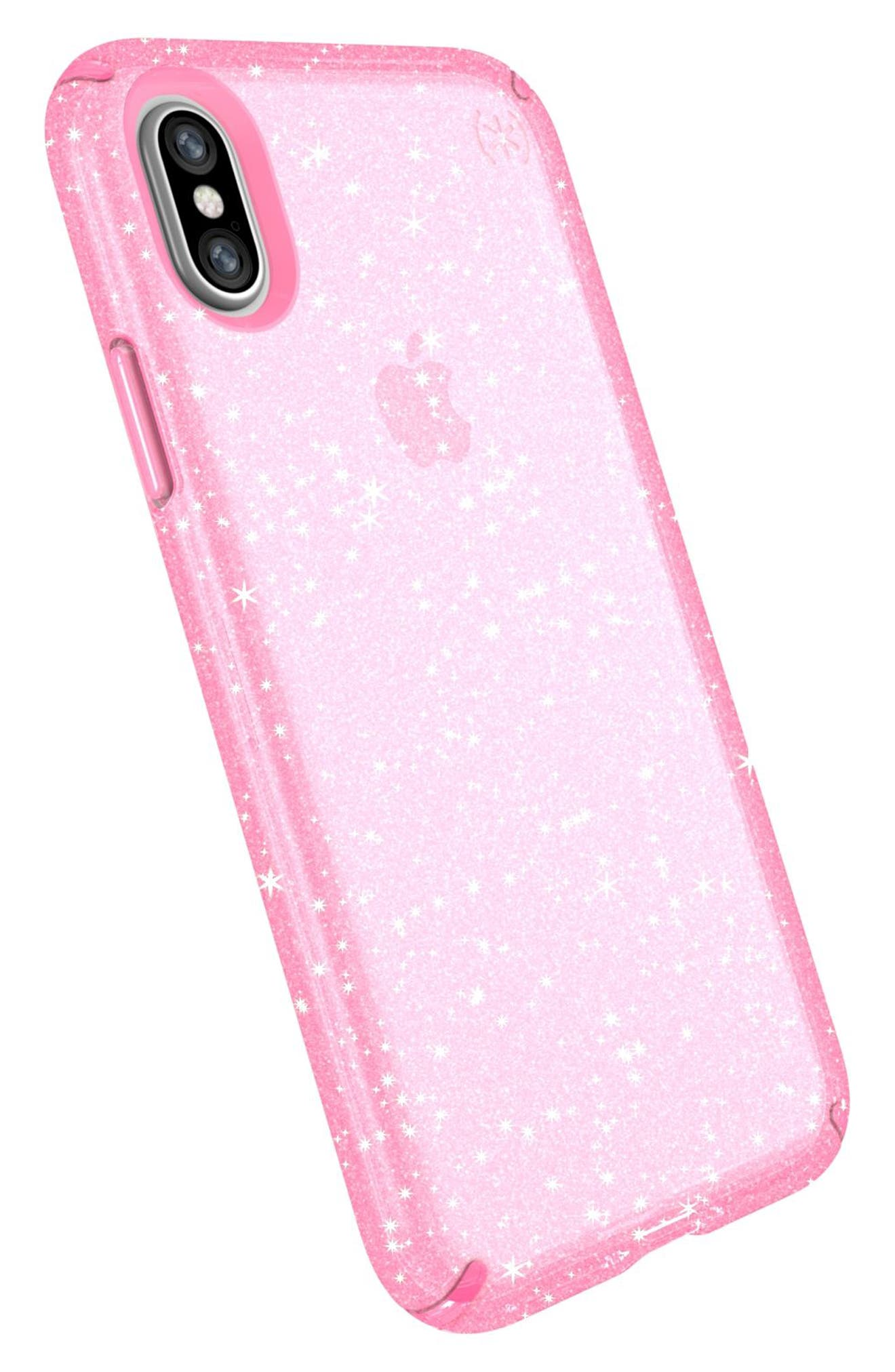 Transparent iPhone X & Xs Case,                             Alternate thumbnail 8, color,                             BELLA PINK GOLD GLITTER/ PINK