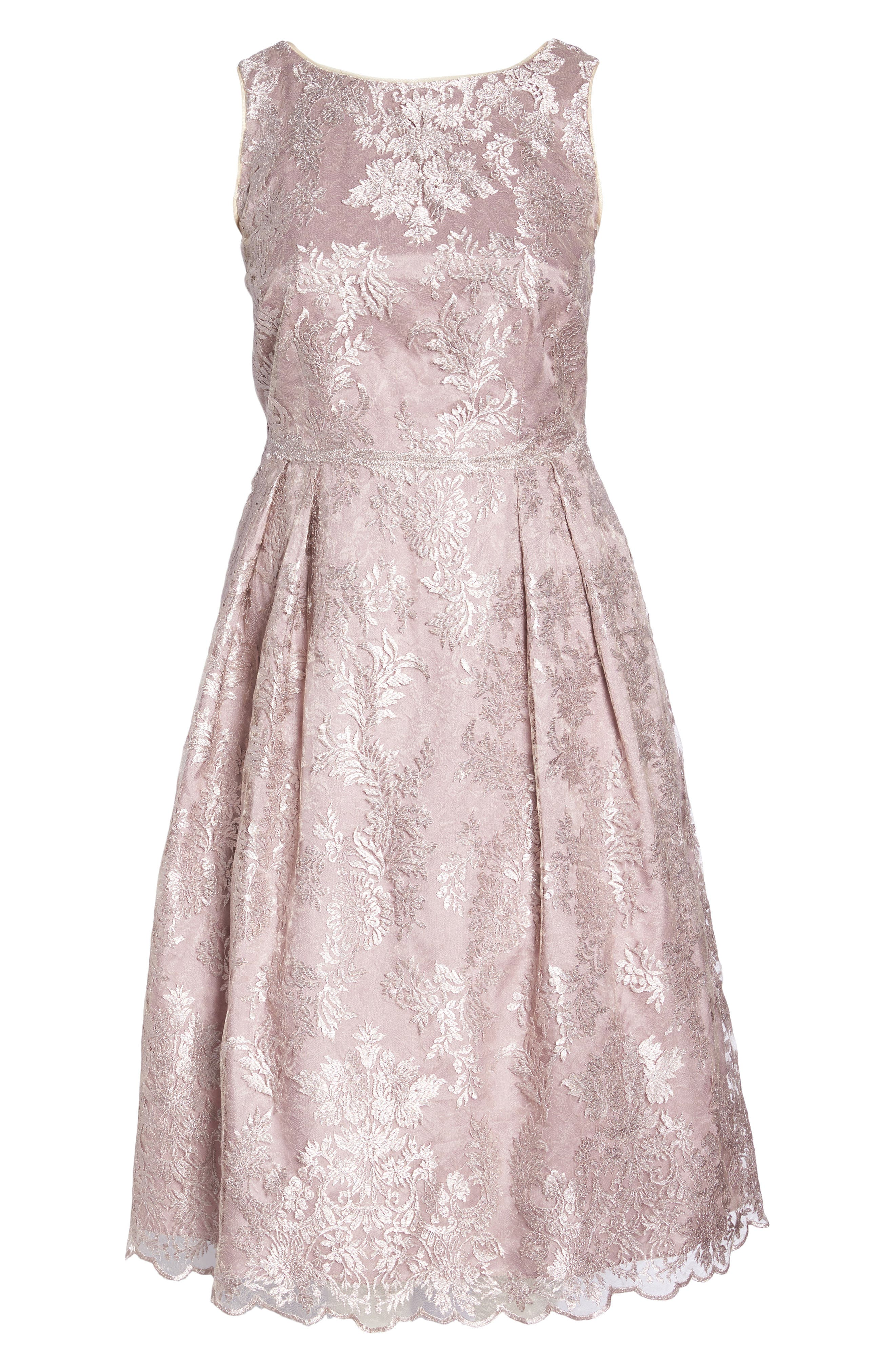 Metallic Embroidered Tea Length Dress,                             Alternate thumbnail 6, color,                             670