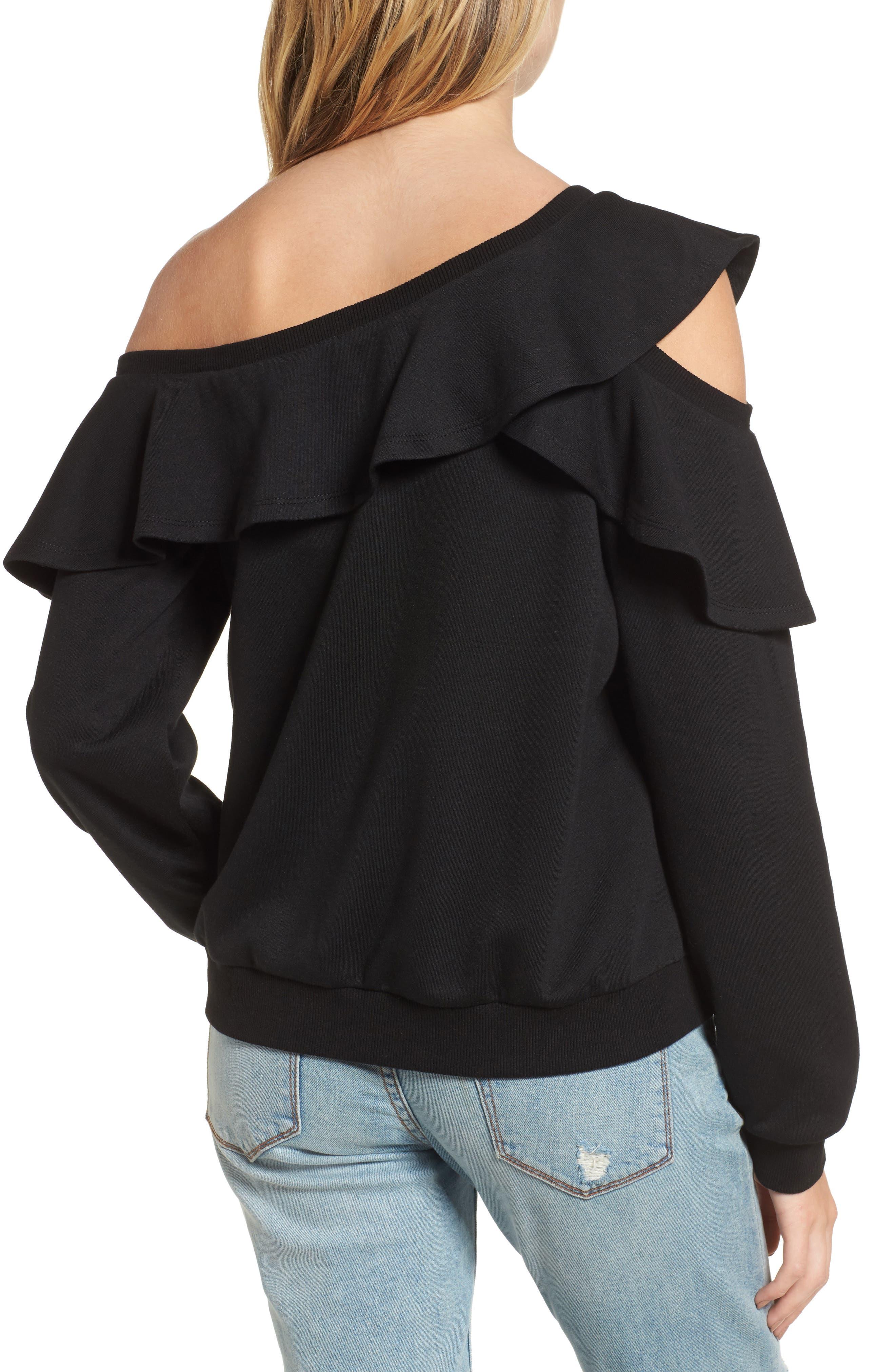 One-Shoulder Ruffle Sweatshirt,                             Alternate thumbnail 2, color,                             001
