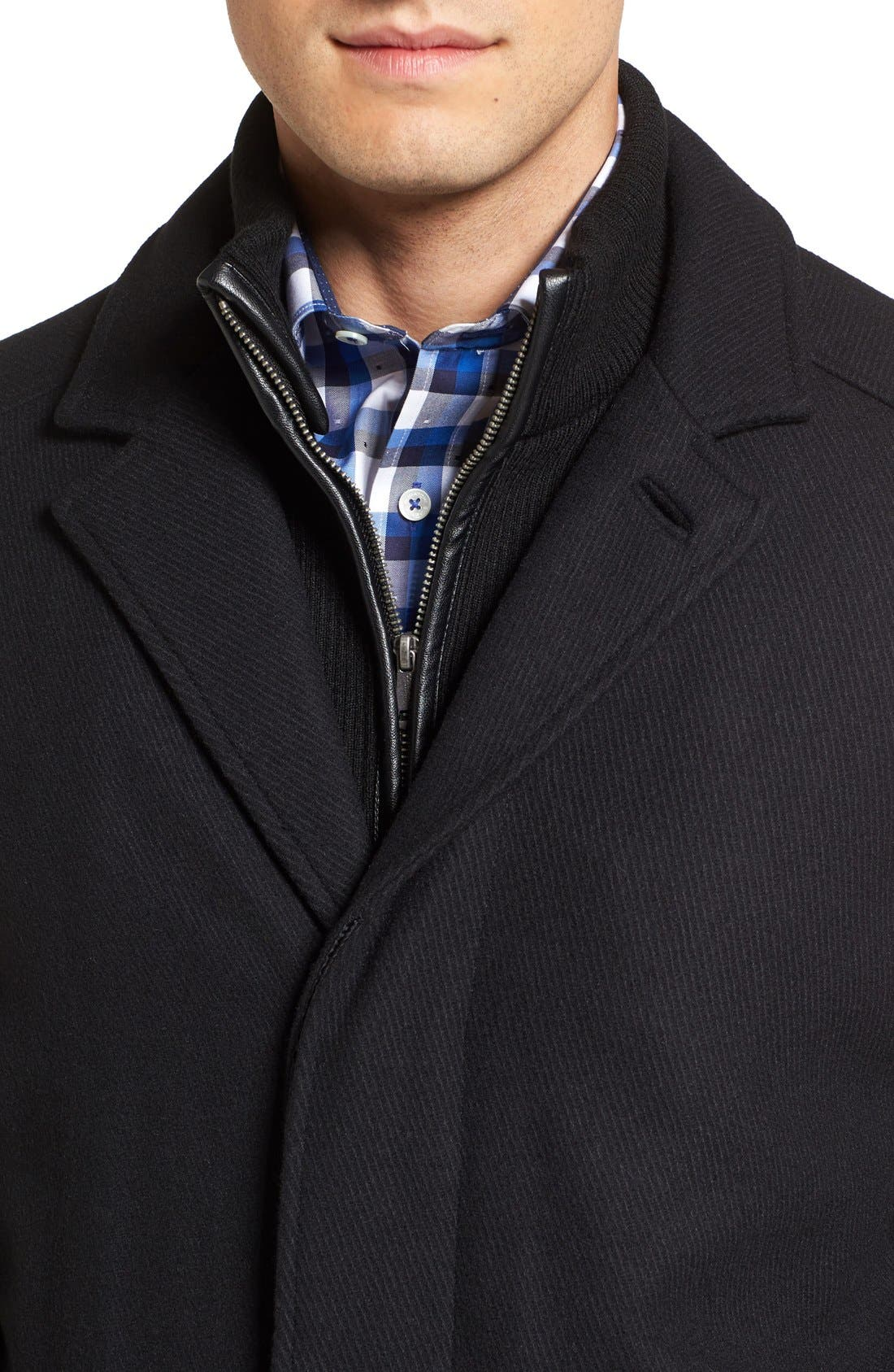 Wool Blend Overcoat with Knit Bib Inset,                             Alternate thumbnail 4, color,                             BLACK
