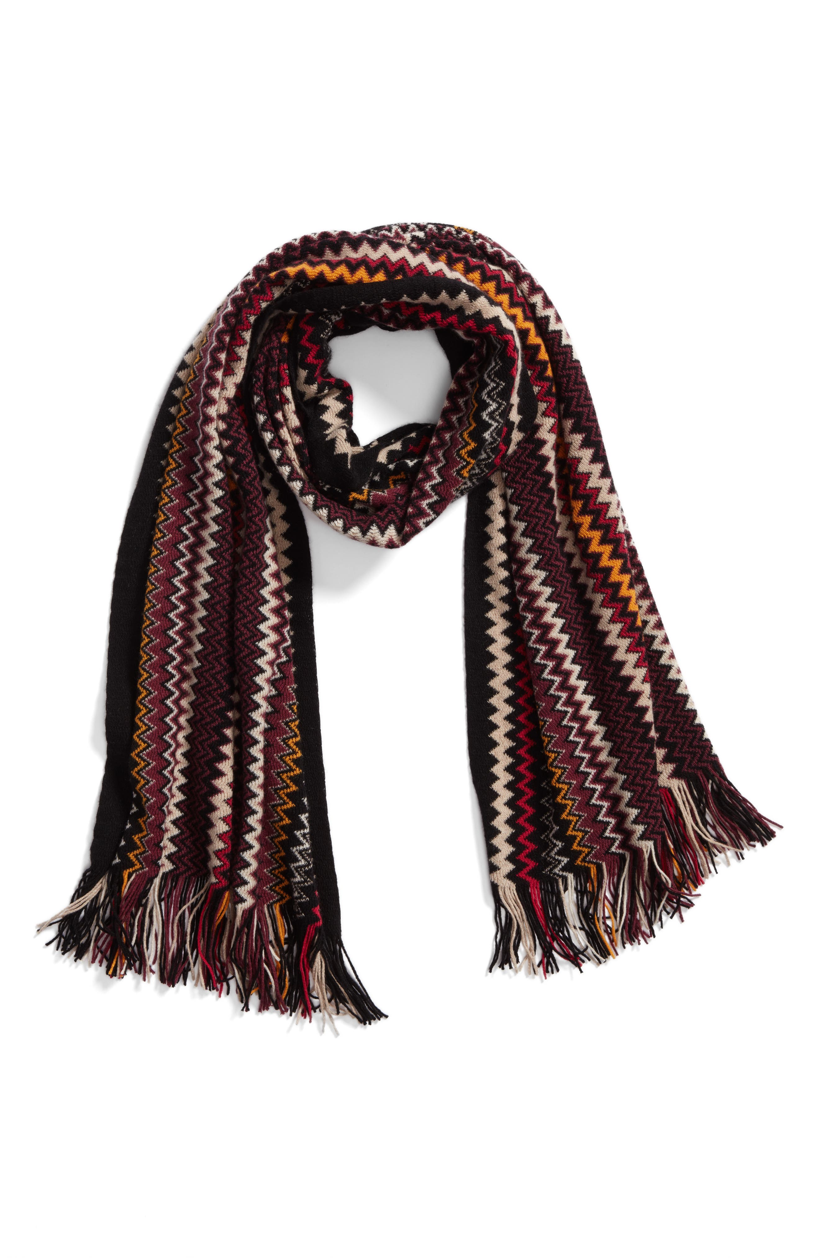 Zigzag Fringe Cashmere Scarf,                             Alternate thumbnail 6, color,