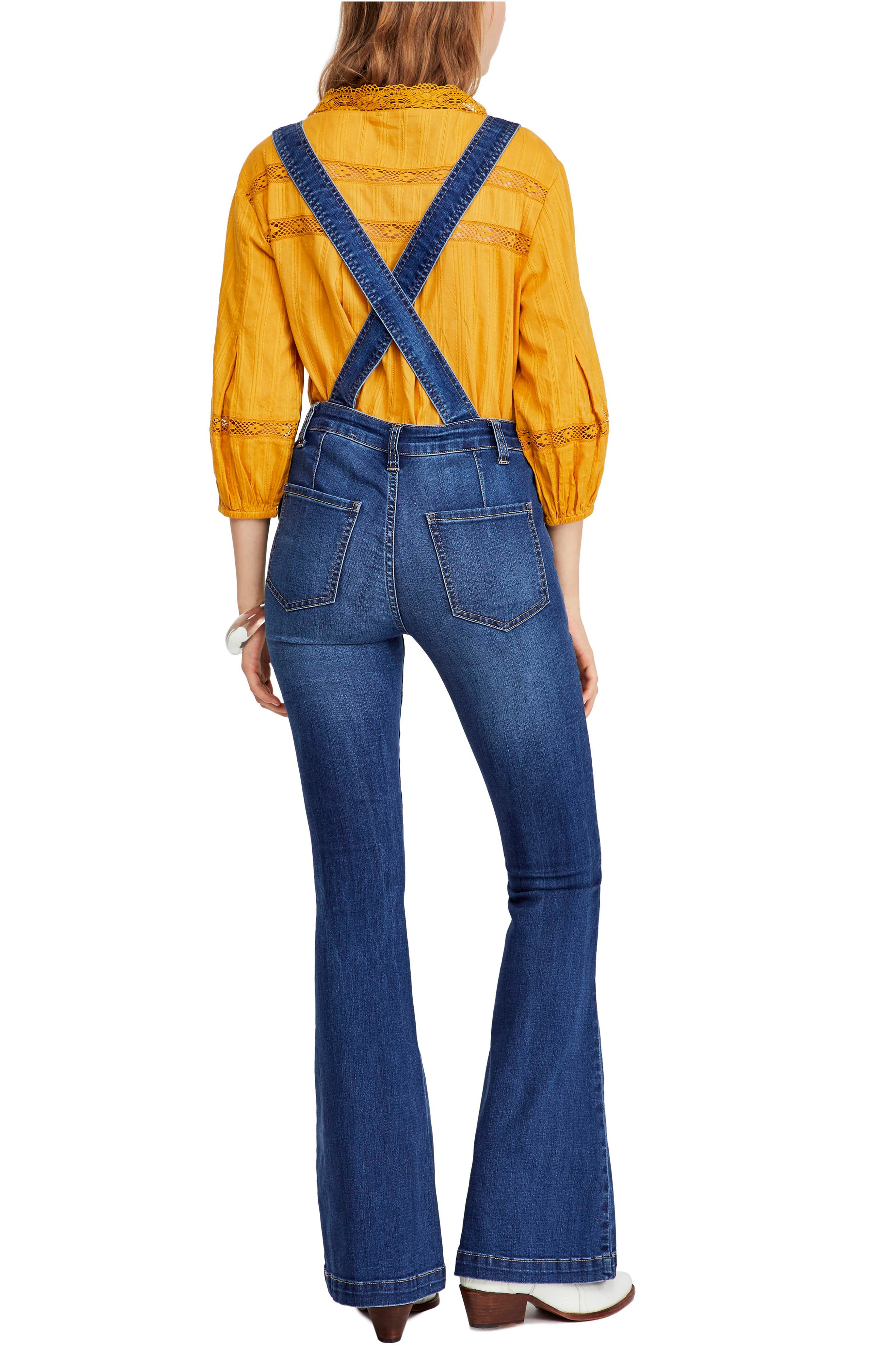 Carly Flare Overalls,                             Alternate thumbnail 2, color,                             BLUE