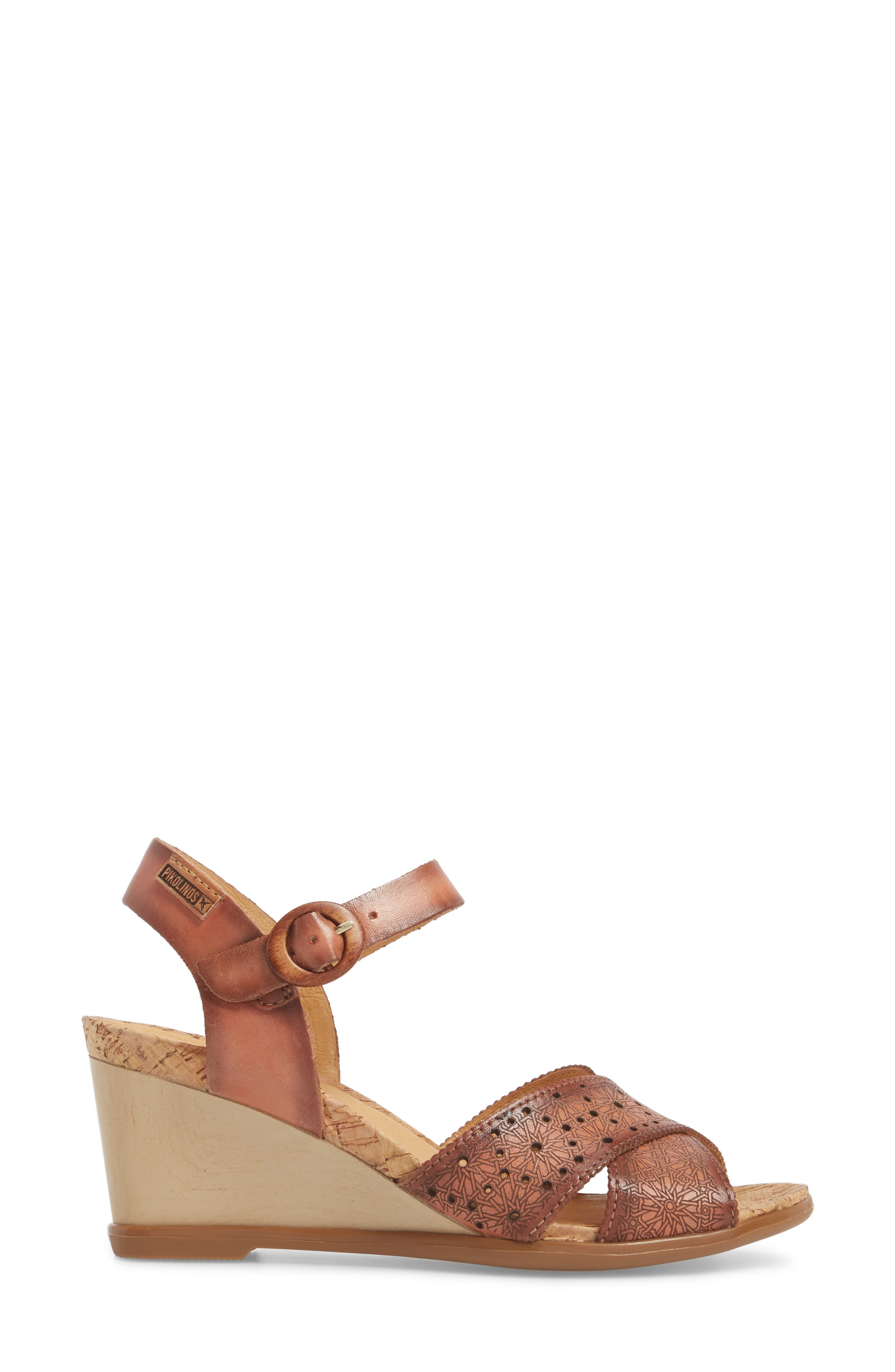 Vigo Wedge Sandal,                             Alternate thumbnail 3, color,                             FLAMINGO LEATHER