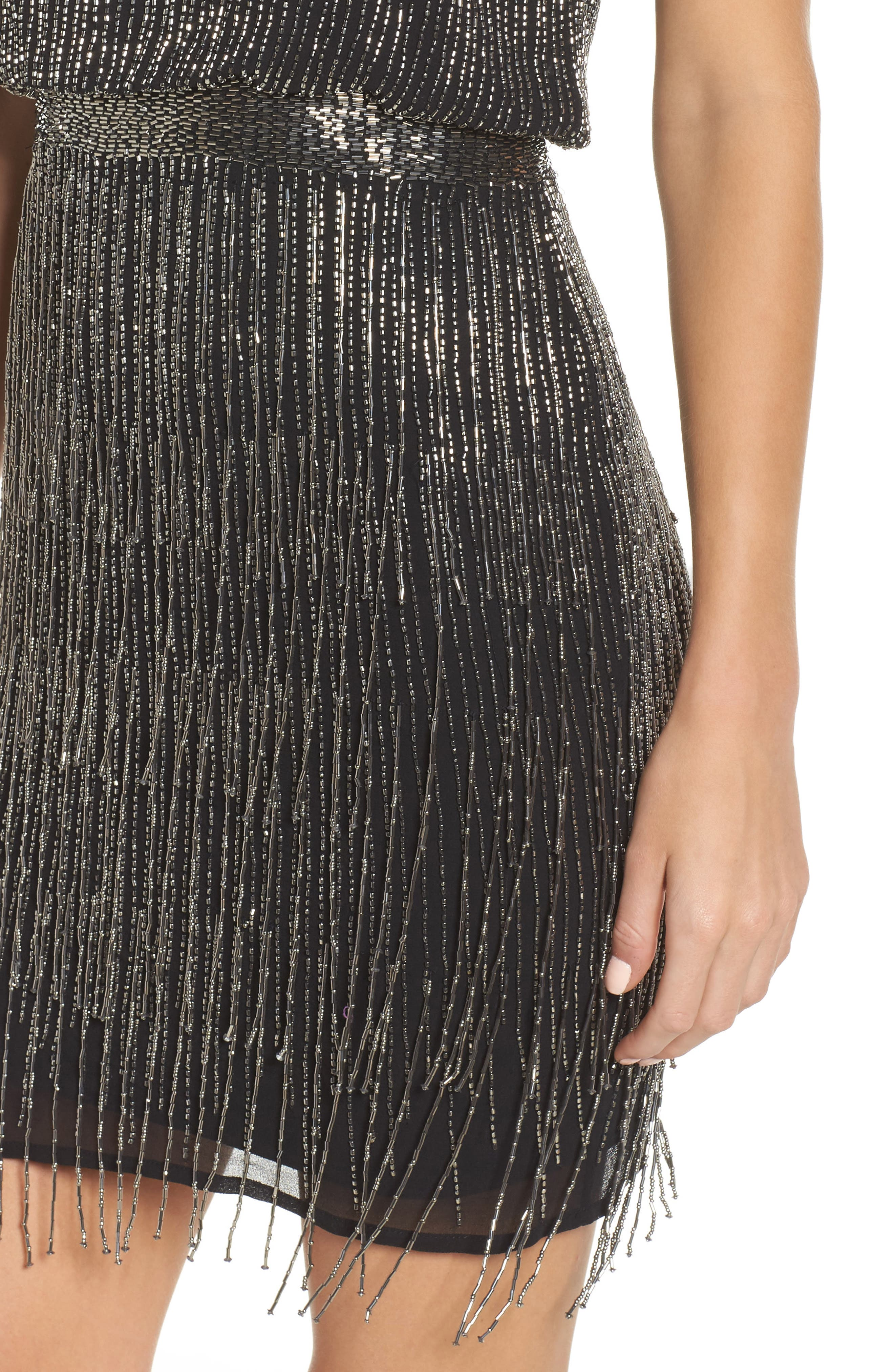Beaded Fringe Blouson Dress,                             Alternate thumbnail 4, color,                             017