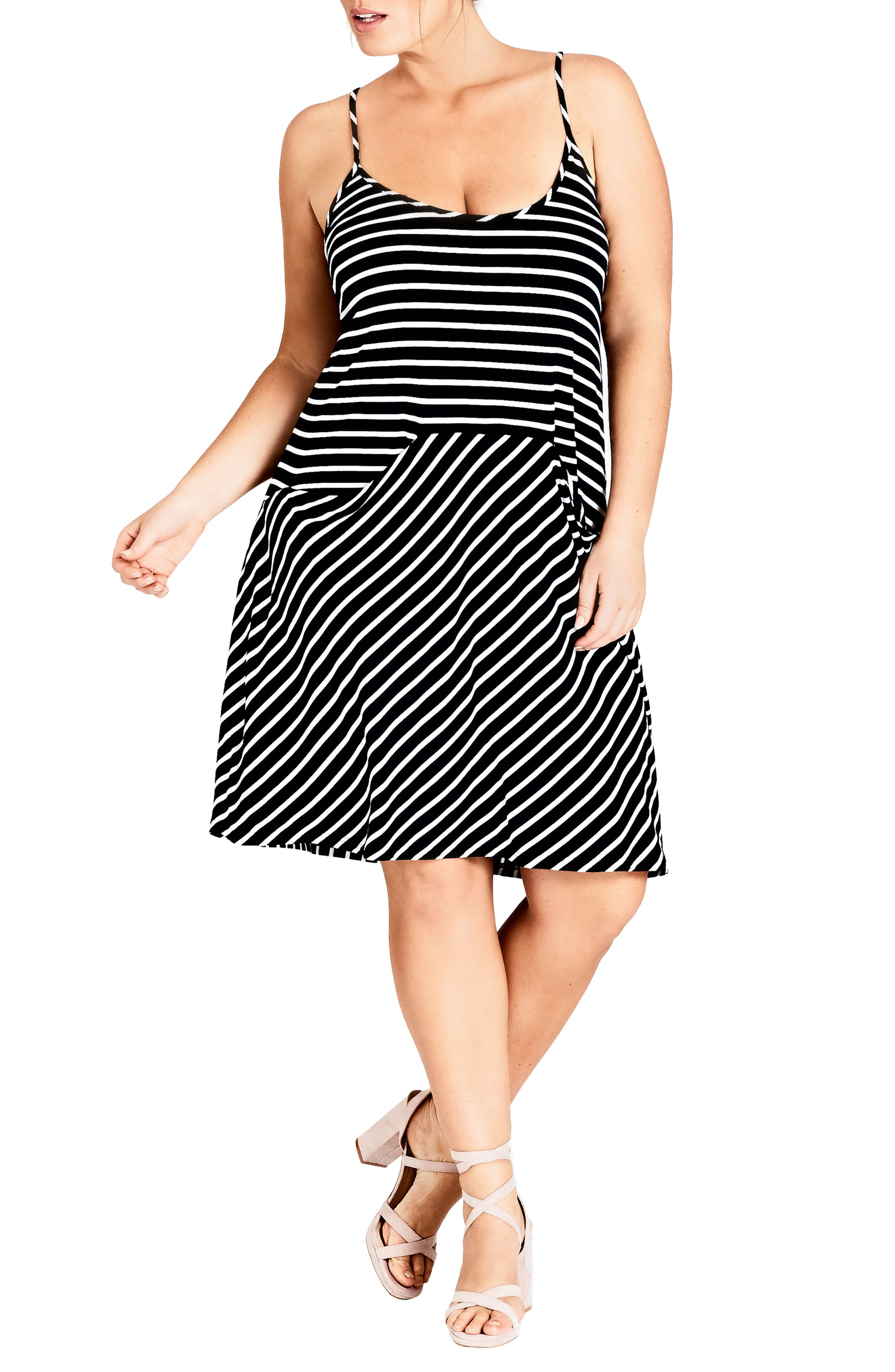 Beachy Days Dress,                             Main thumbnail 1, color,                             BLACK STRIPE