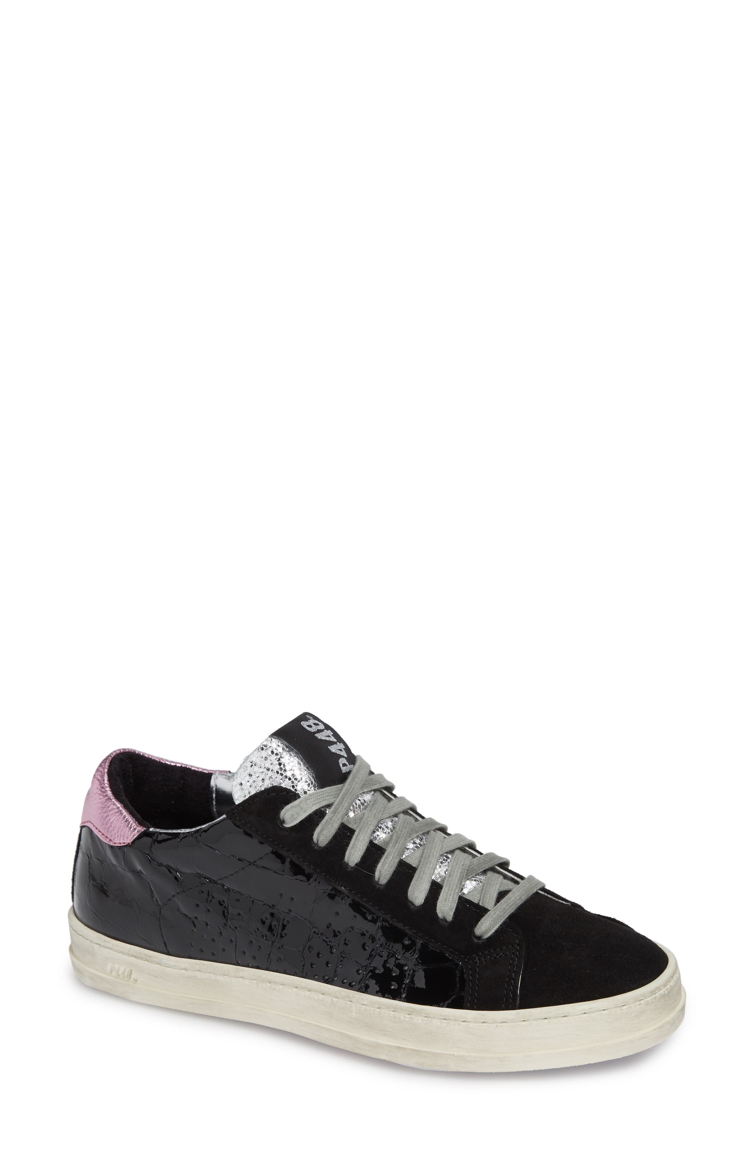 Women'S John Embossed Patent Leather & Suede Lace-Up Sneakers in Vynil Black