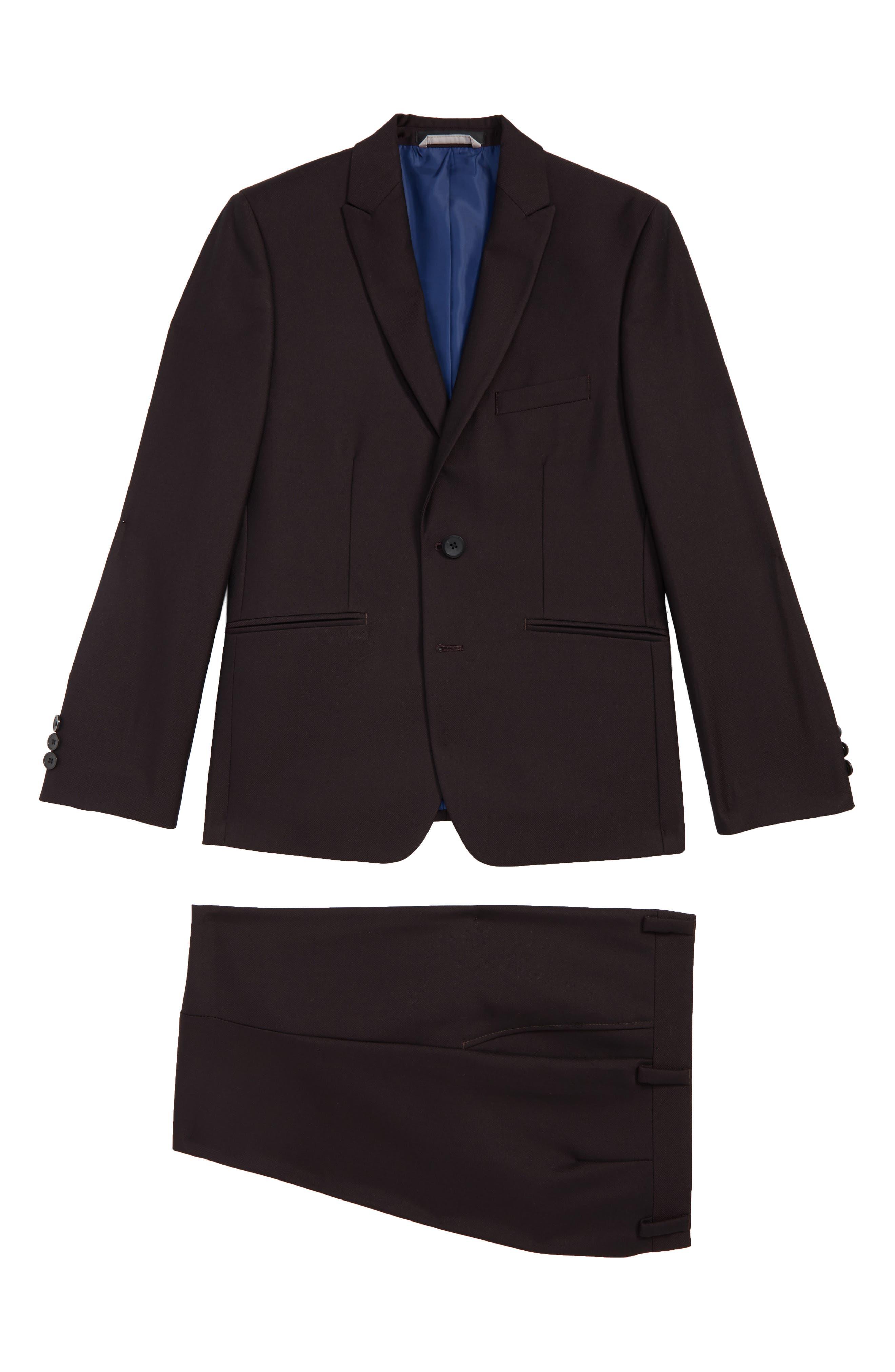 Plain Two-Piece Suit, Main, color, WINE
