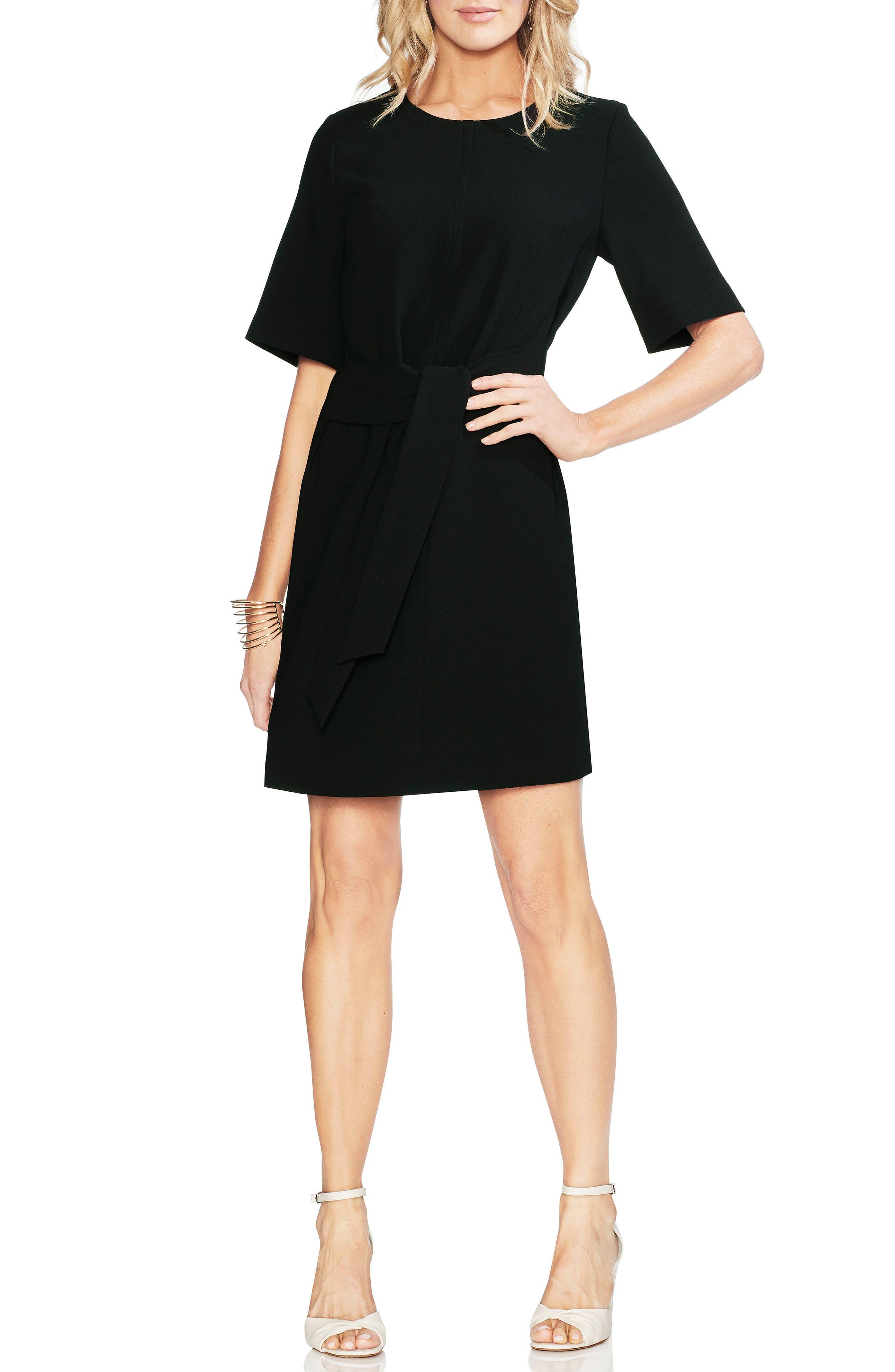 Petite Vince Camuto Belted Crepe Dress, Black