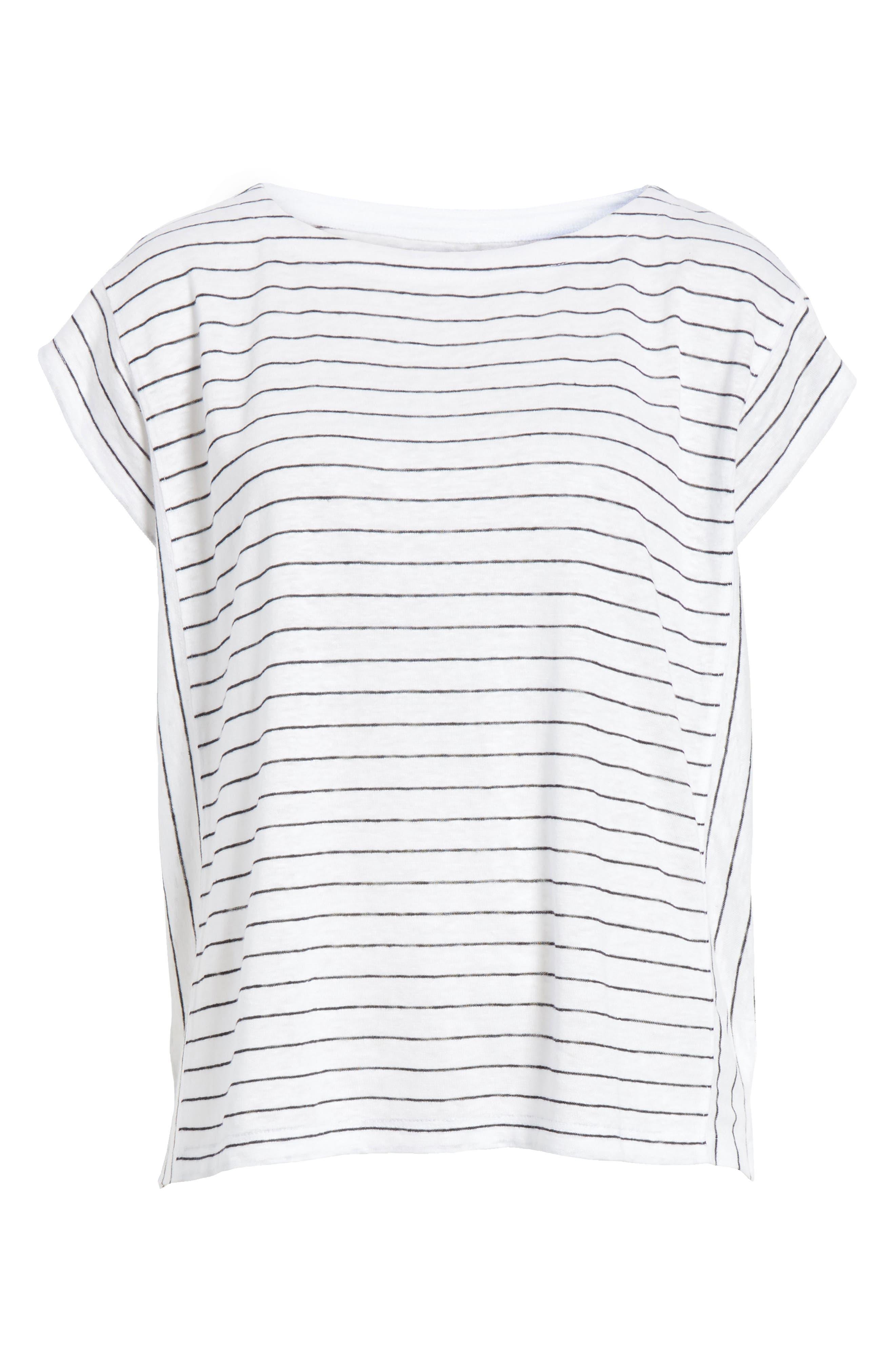 Stripe Organic Linen Top,                             Alternate thumbnail 6, color,                             120