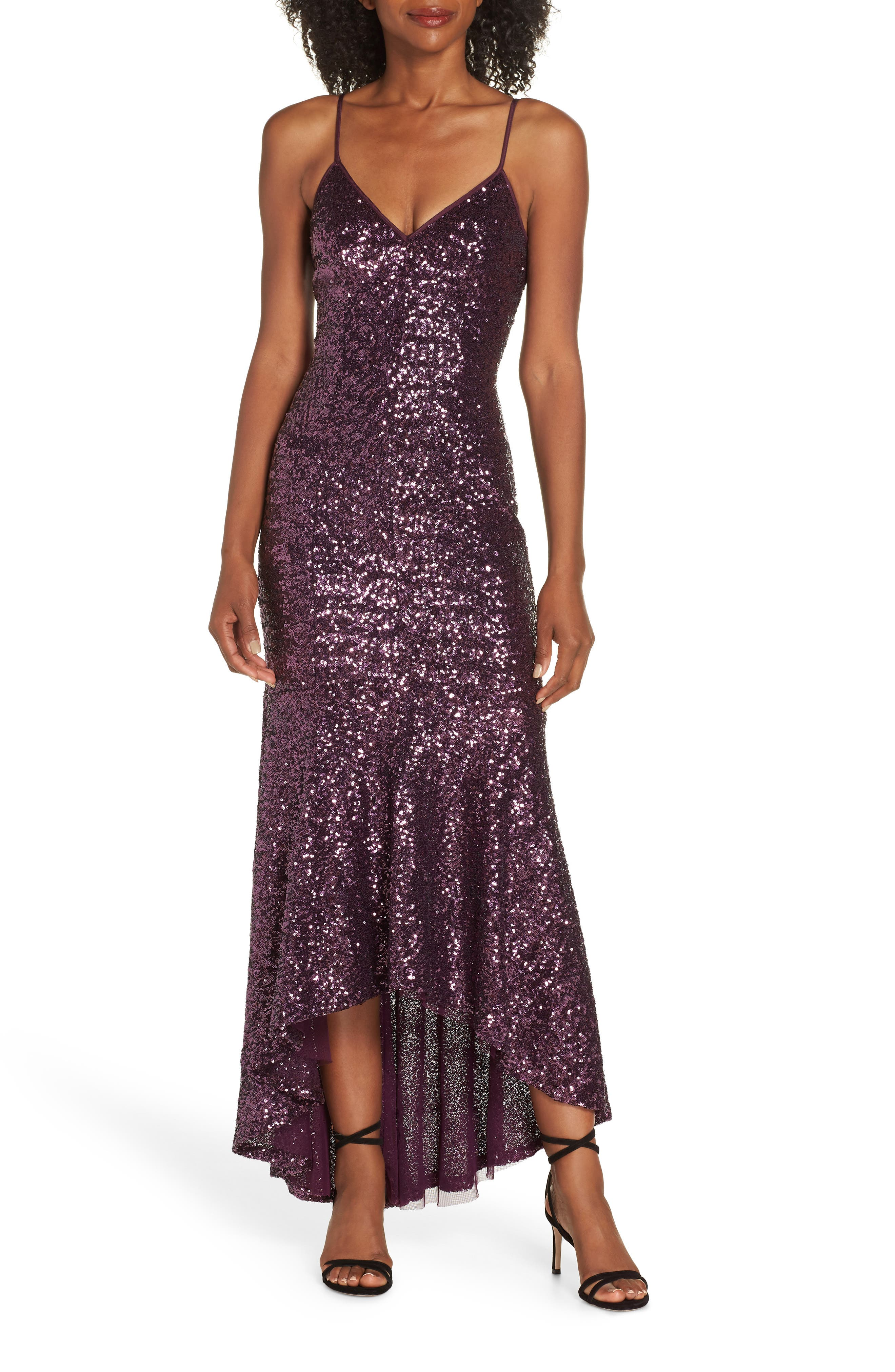70s Prom, Formal, Evening, Party Dresses Womens Vince Camuto Highlow Sequin Gown $268.00 AT vintagedancer.com