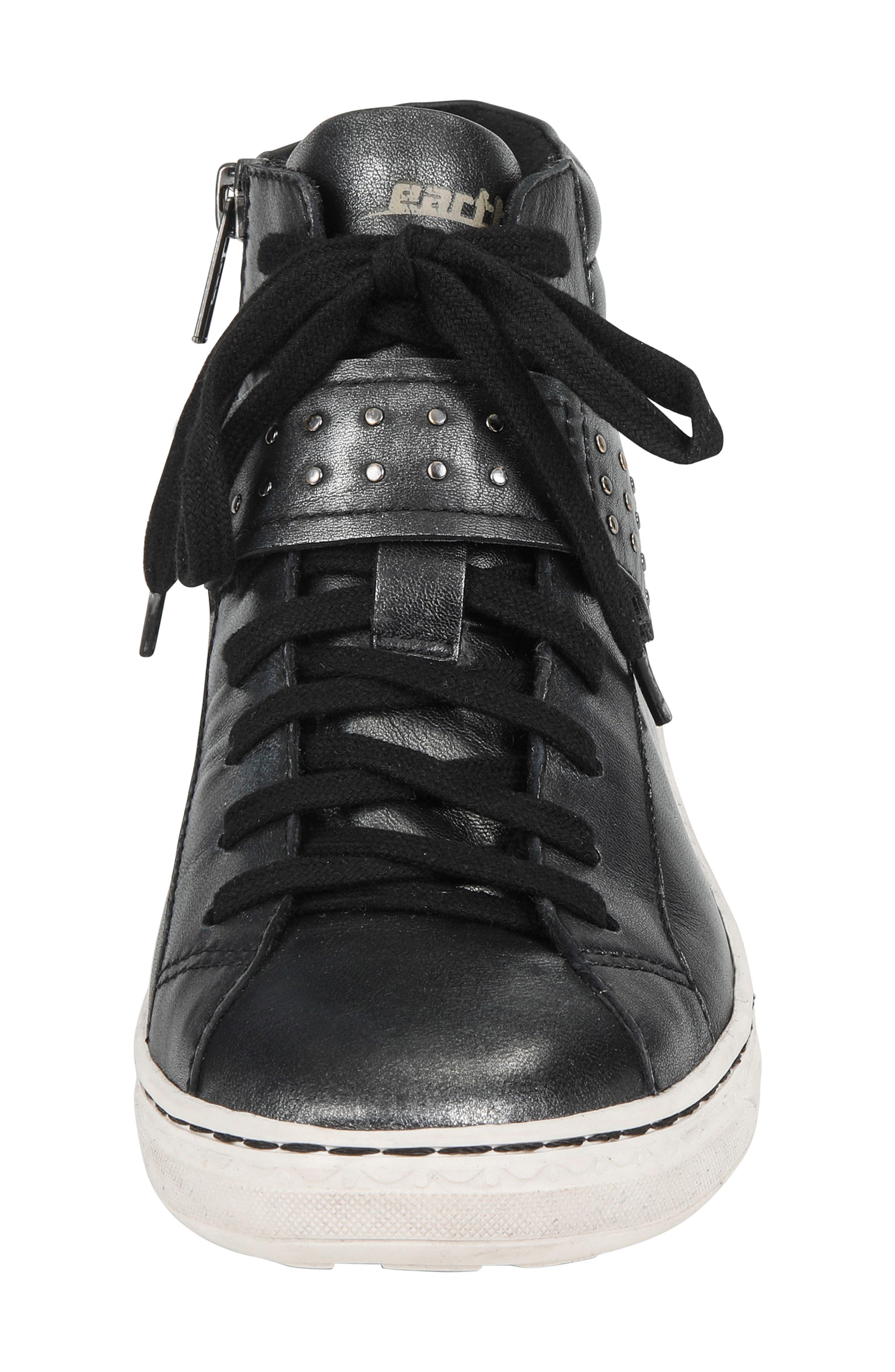 Zeal High Top Sneaker,                             Alternate thumbnail 4, color,                             BLACK METALLIC LEATHER