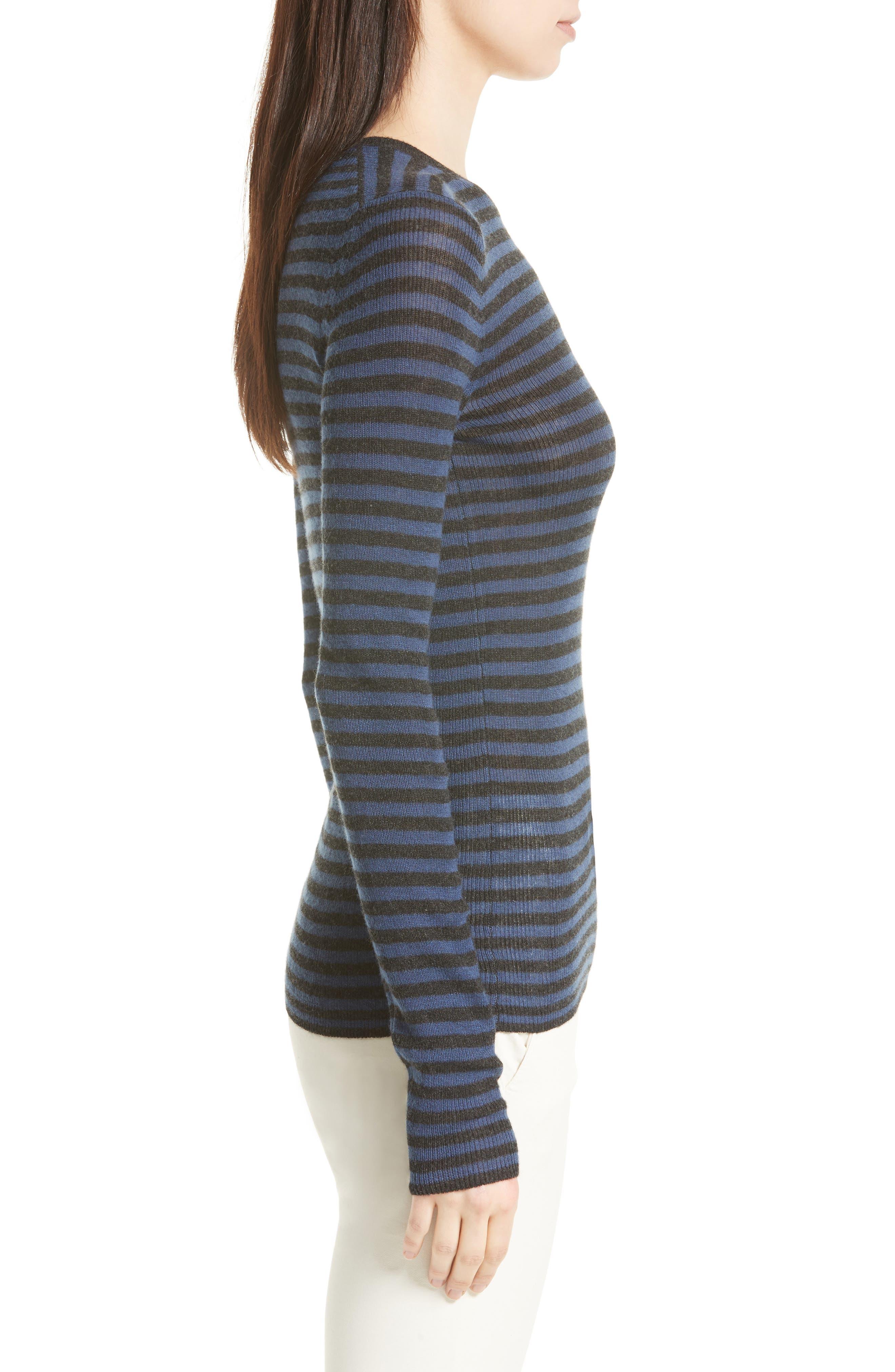 Stripe Cashmere Sweater,                             Alternate thumbnail 3, color,                             472