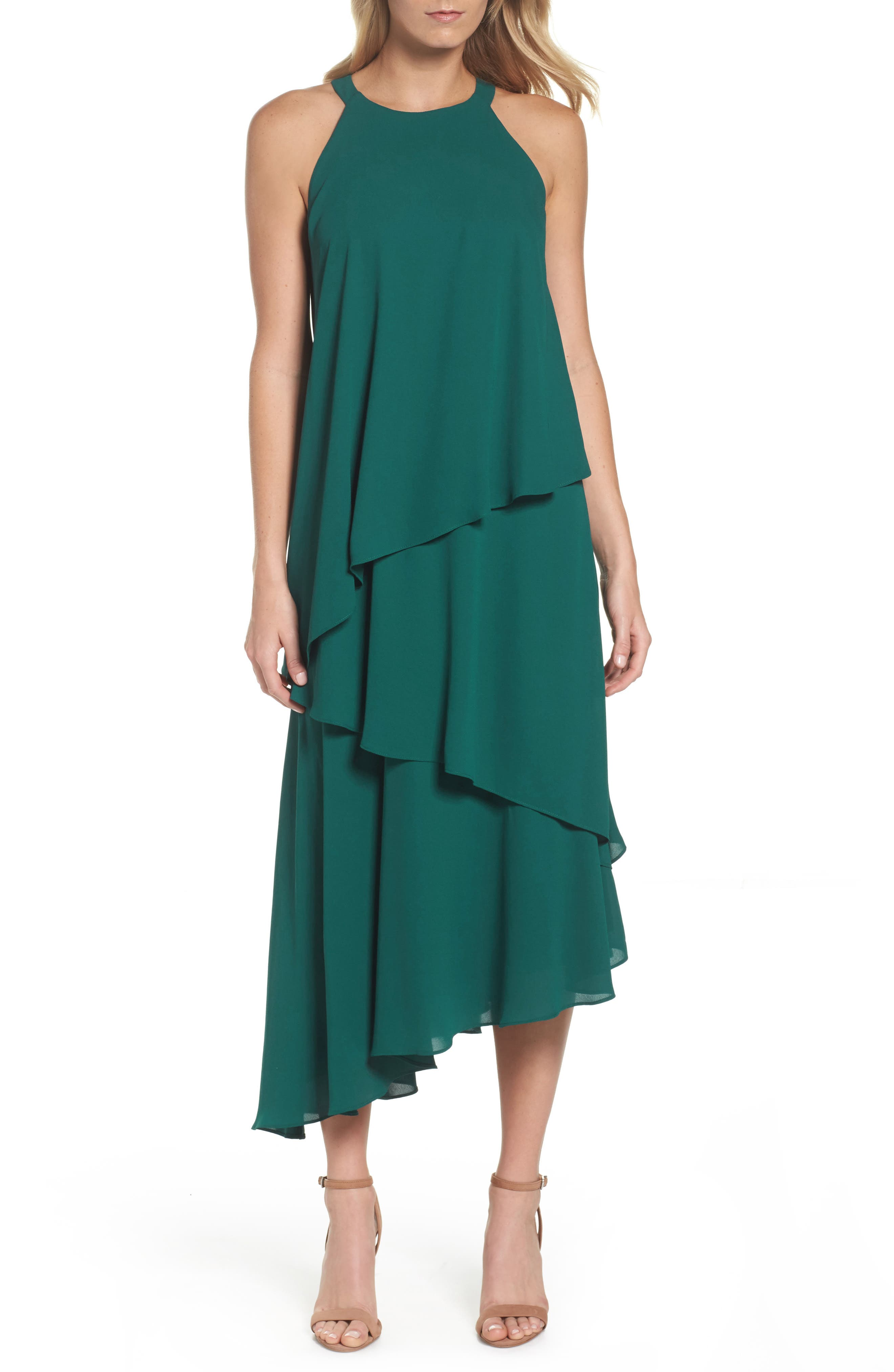 Georgette Asymmetric Dress,                         Main,                         color,
