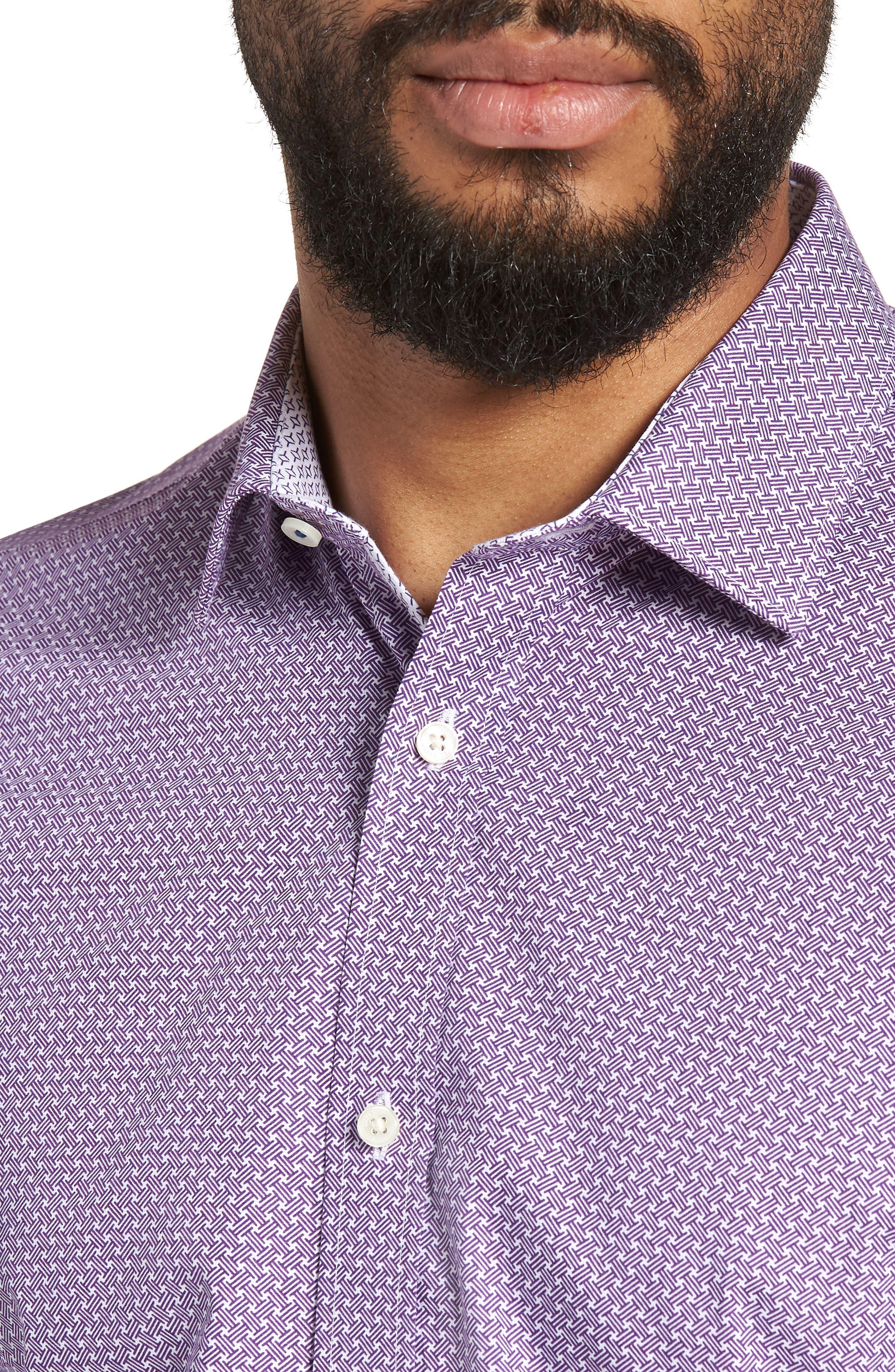 Rugber Slim Fit Print Dress Shirt,                             Alternate thumbnail 2, color,                             PURPLE