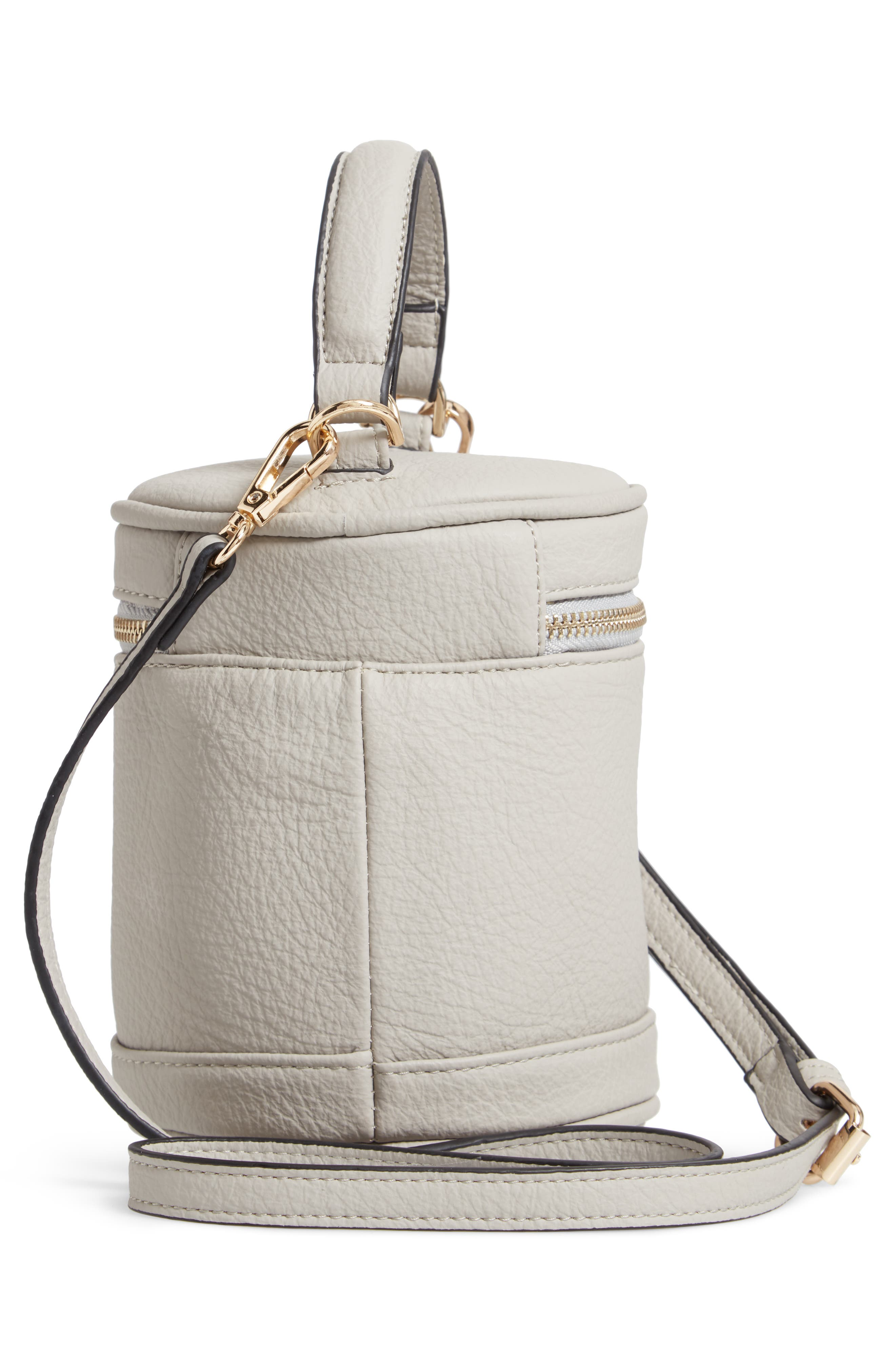 Small Faux Leather Top Handle Cylinder Bag,                             Alternate thumbnail 3, color,                             GREY