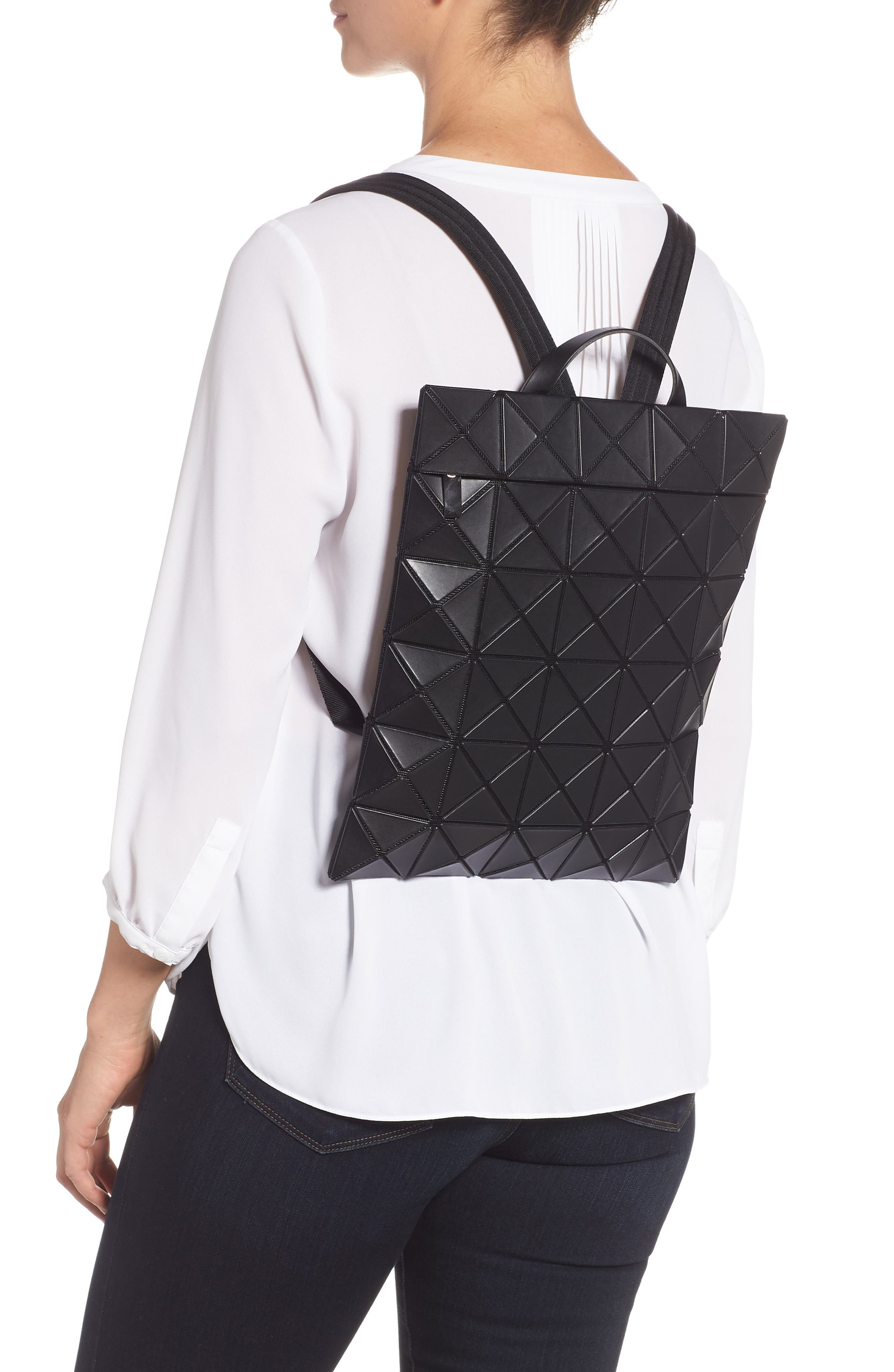 BAO BAO ISSEY MIYAKE,                             Flat Backpack,                             Alternate thumbnail 2, color,                             MATTE BLACK