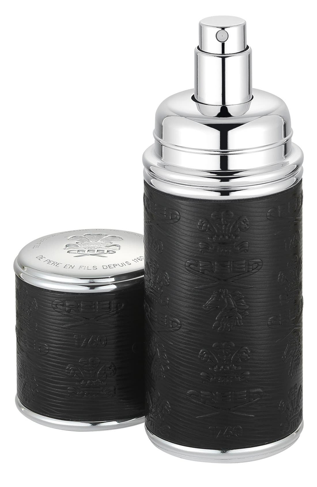 Black with Silver Trim Leather Atomizer,                         Main,                         color, 000