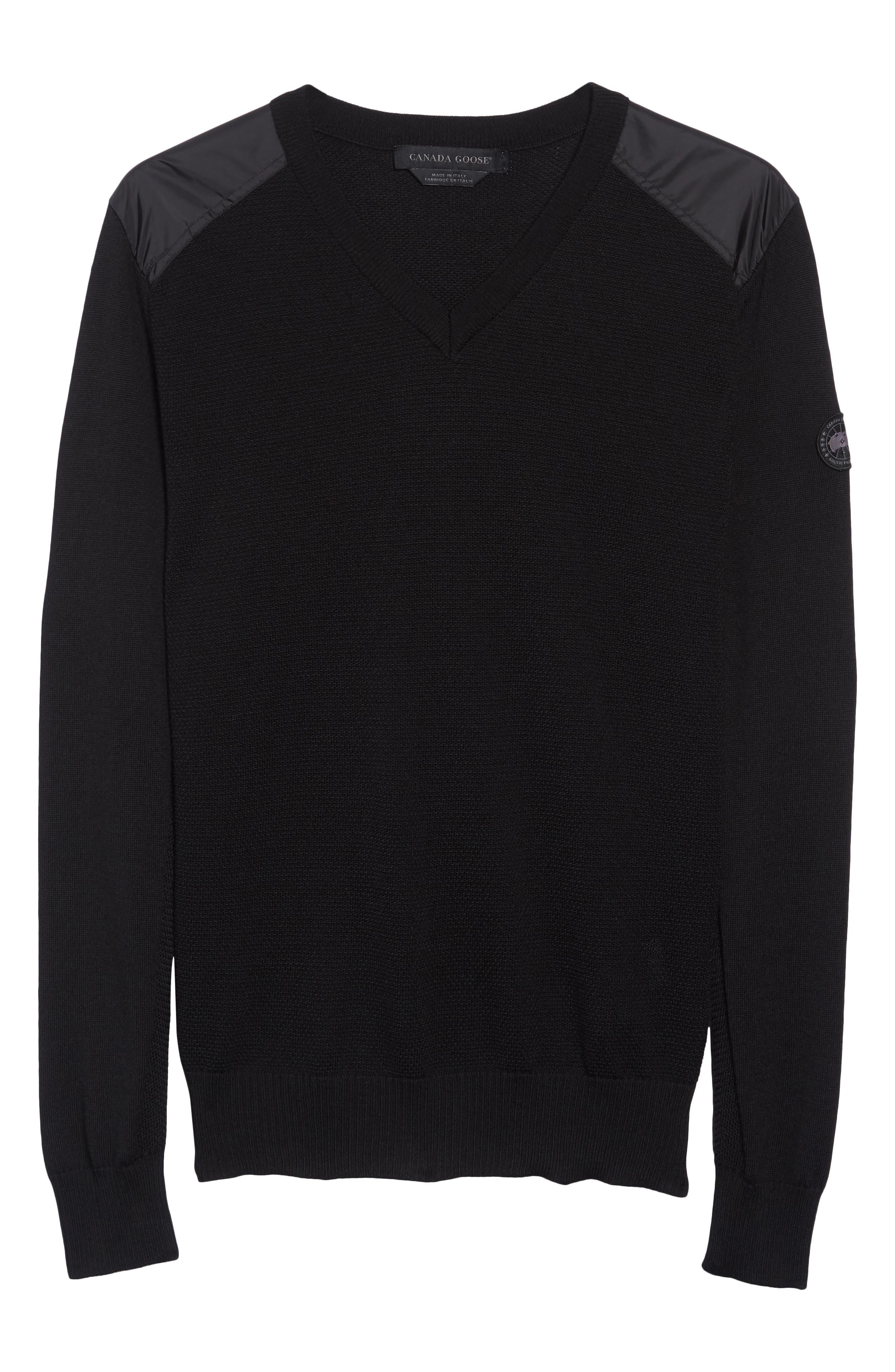 McLeod V-Neck Regular Fit Merino Wool Sweater,                             Alternate thumbnail 6, color,                             BLACK