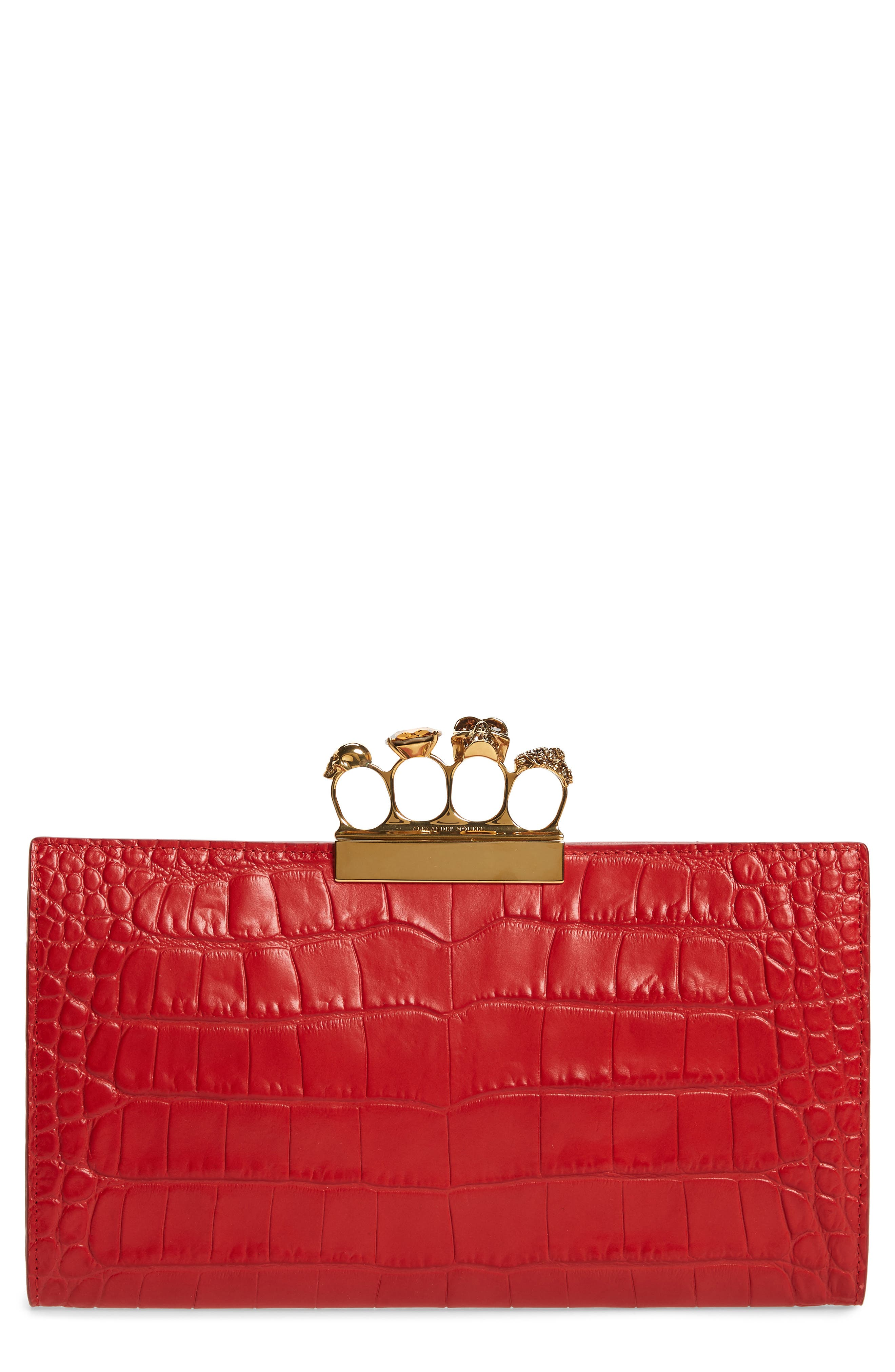 Croc Embossed Leather Knuckle Clutch,                             Main thumbnail 1, color,                             SCARLET RED