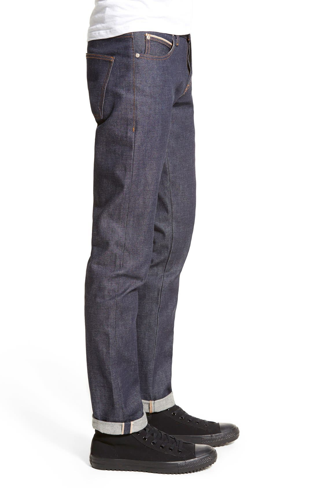 Super Skinny Guy Skinny Fit Selvedge Jeans,                             Alternate thumbnail 3, color,                             INDIGO