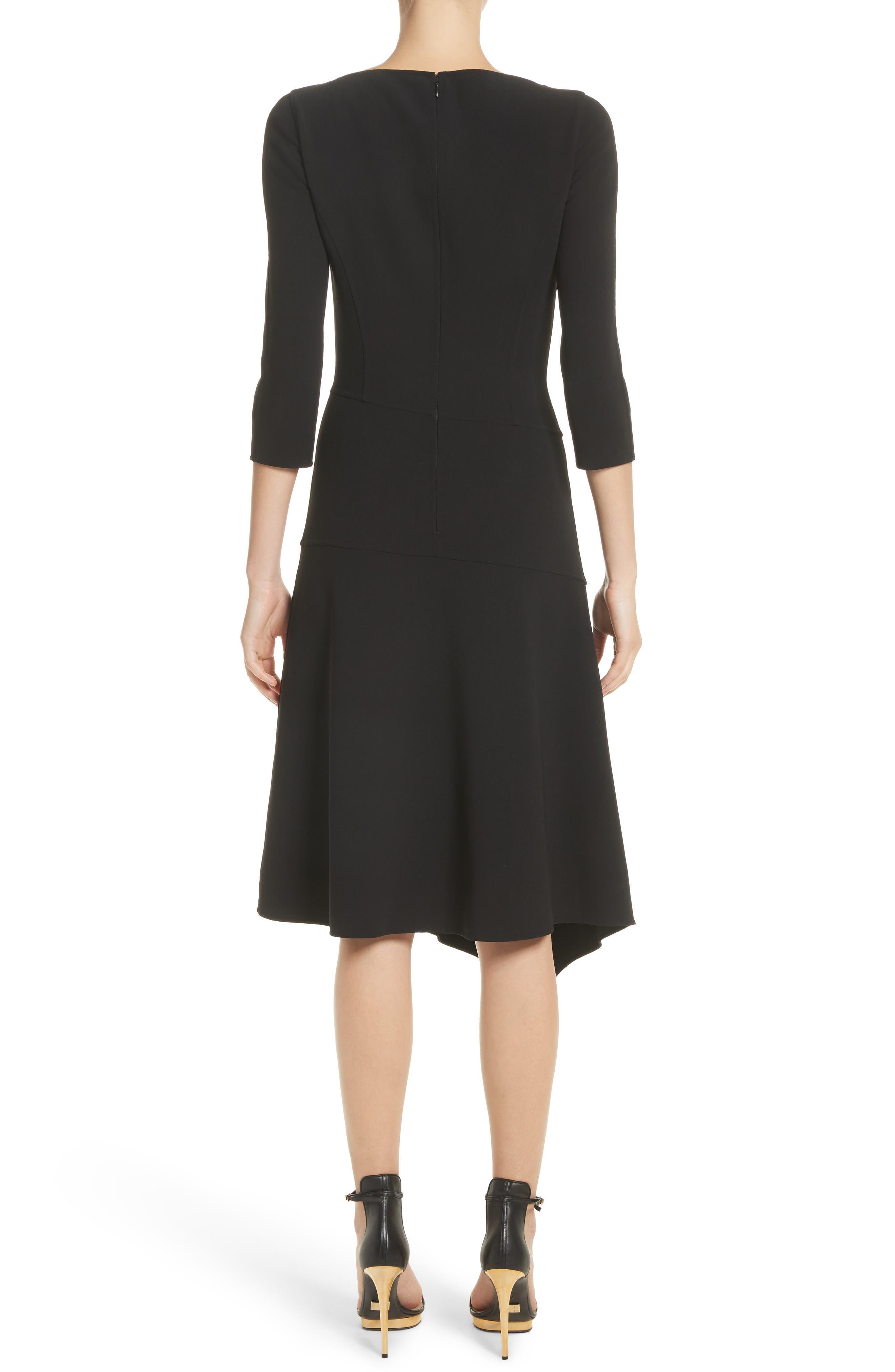 Stretch Wool Asymmetrical Dress,                             Alternate thumbnail 2, color,                             001