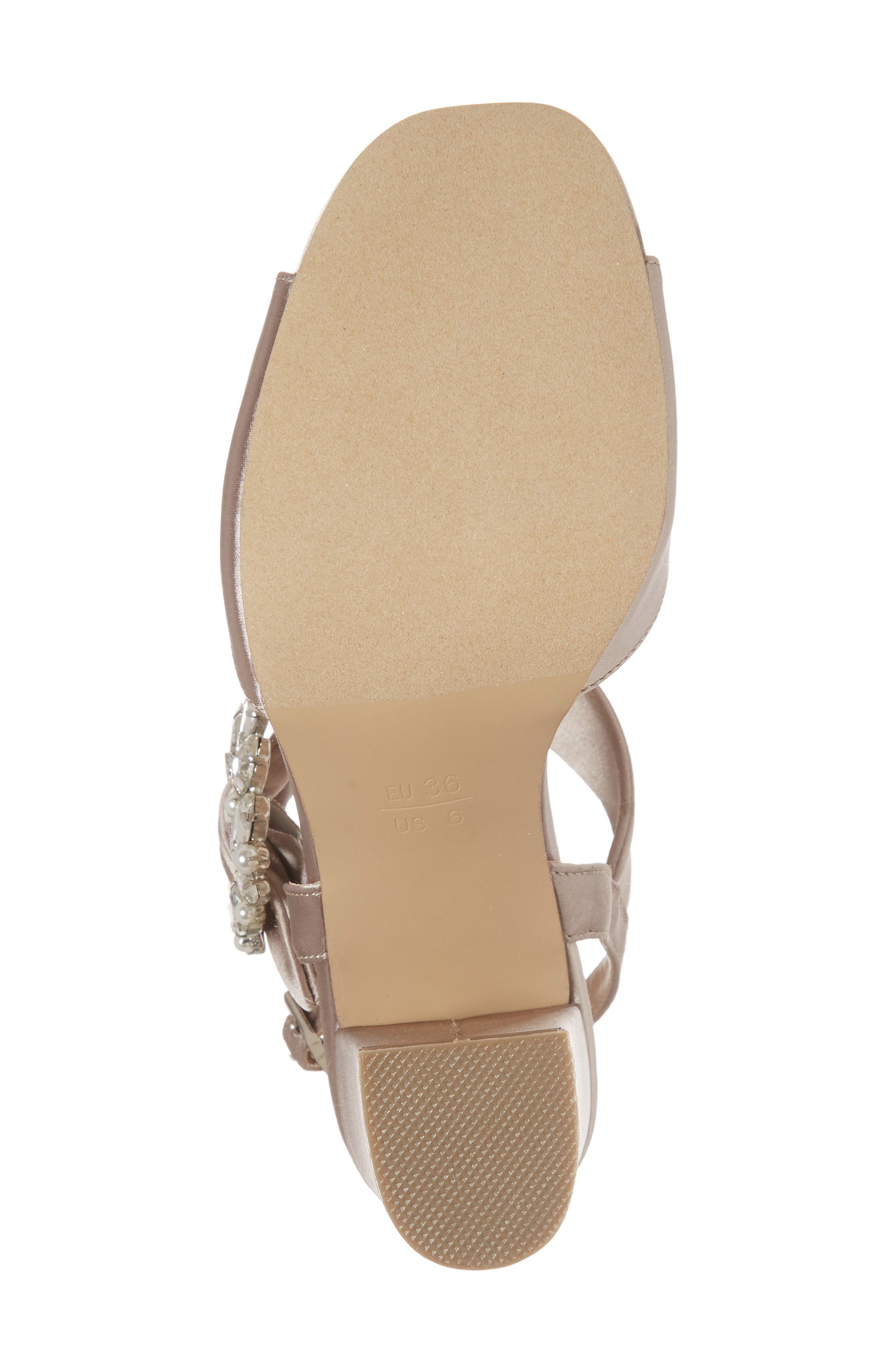 Manhattan Embellished Sandal,                             Alternate thumbnail 6, color,                             TAUPE SATIN