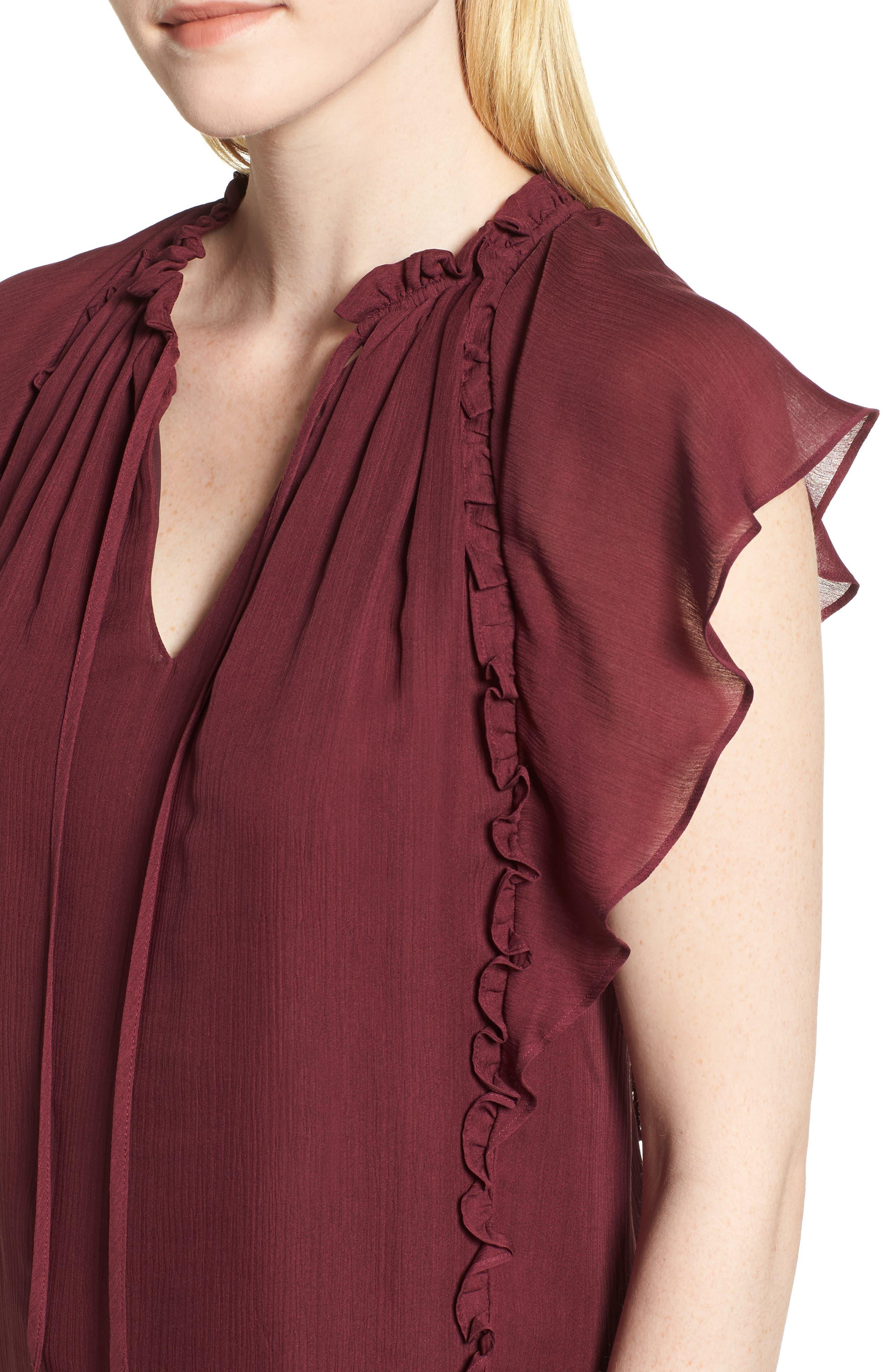 Flutter Sleeve Silk Top,                             Alternate thumbnail 4, color,                             BURGUNDY FIG