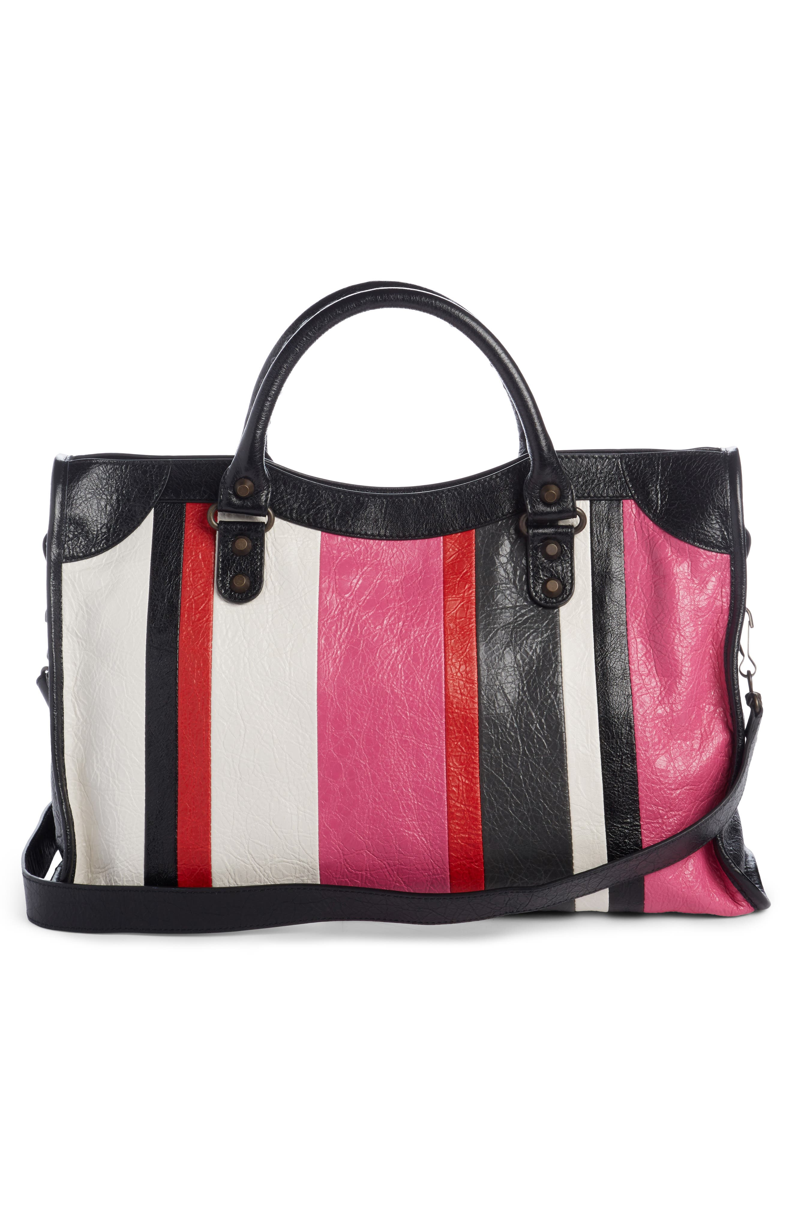 Classic City Stripe Leather Tote,                             Alternate thumbnail 2, color,                             672