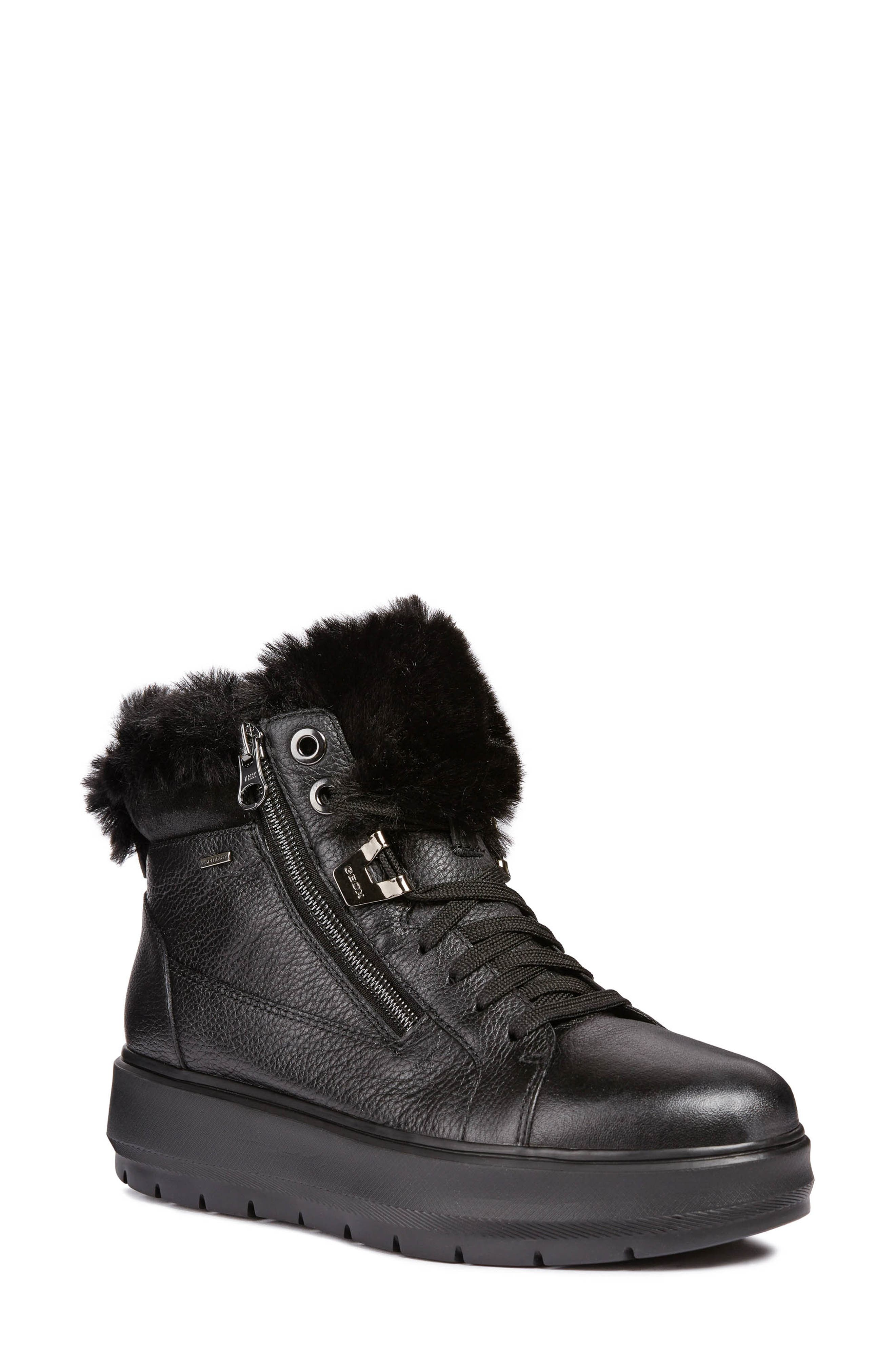 Kaula ABX Waterproof Faux-Fur Cuff Sneaker,                             Main thumbnail 1, color,                             BLACK LEATHER