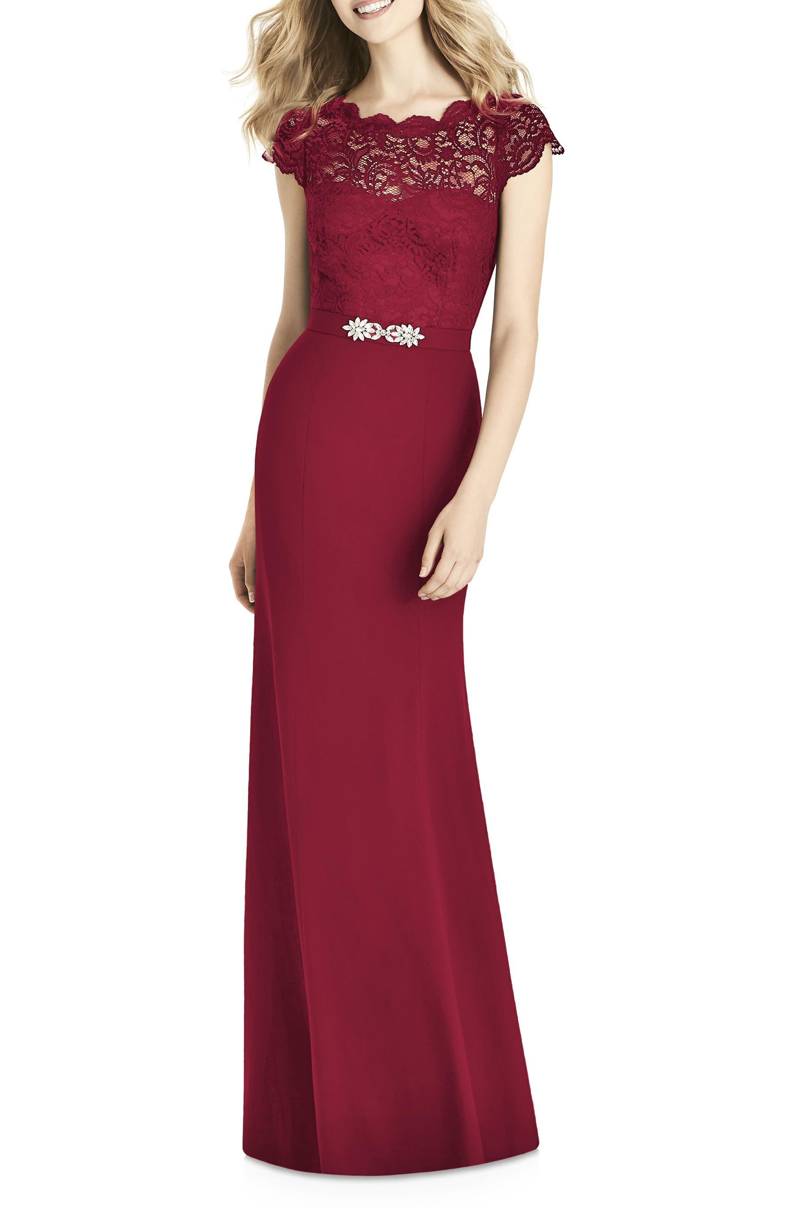 Jenny Packham Lace & Crepe Sheath Gown, Burgundy