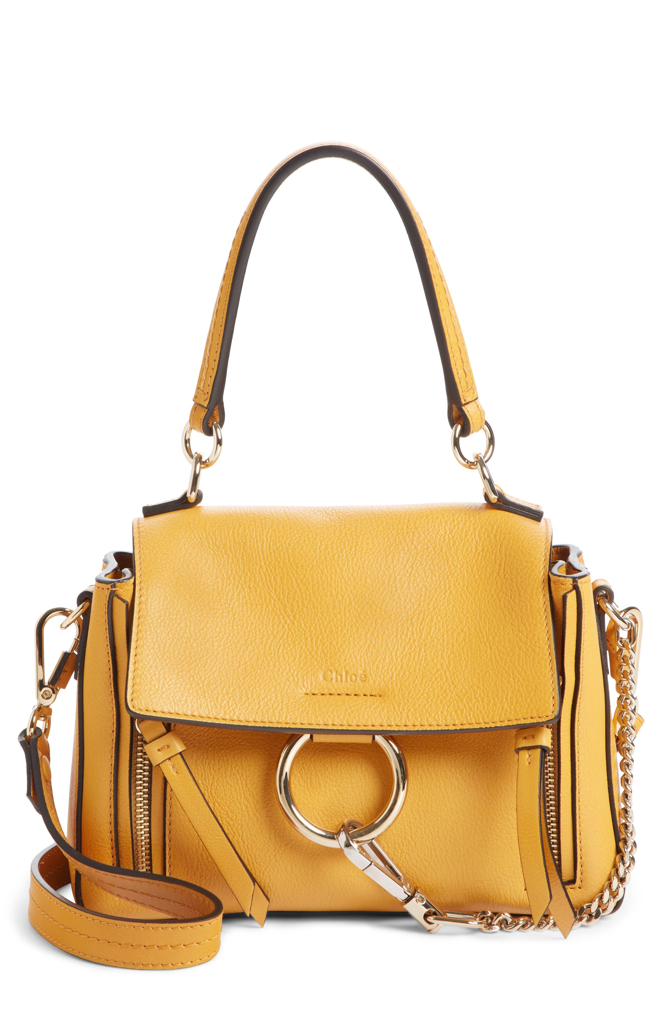 Mini Faye Day Leather Crossbody Bag,                         Main,                         color, BURNING CAMEL