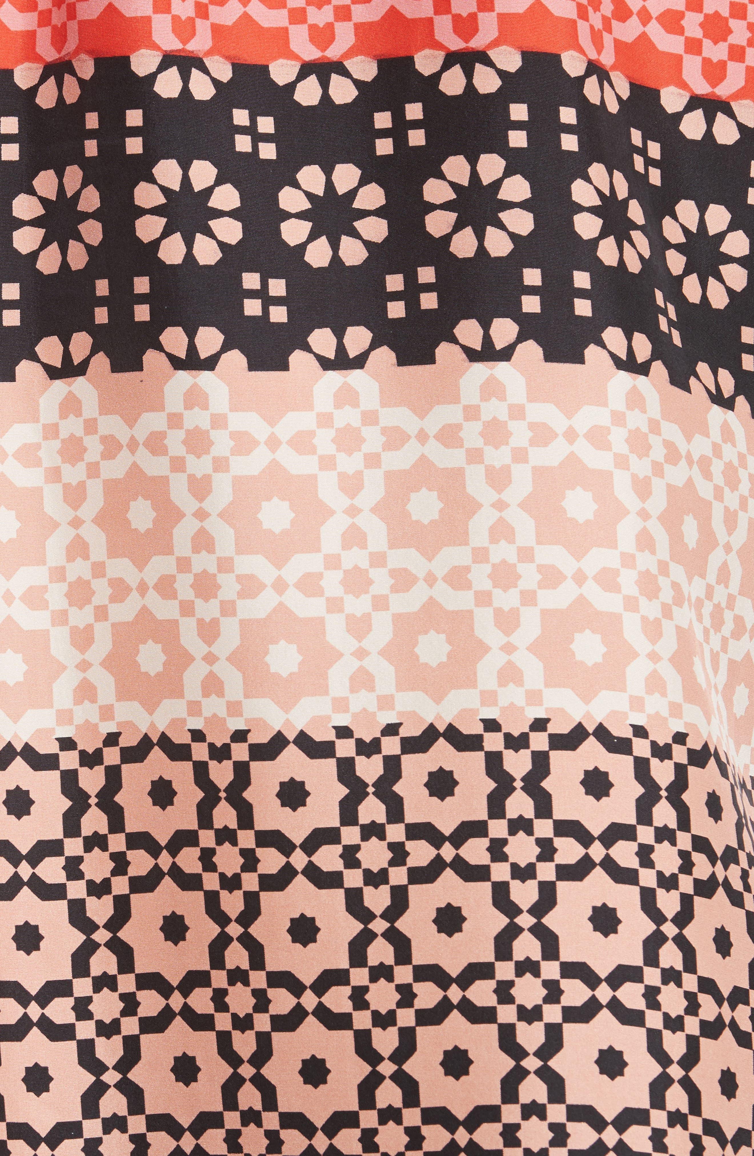 Tie Sleeve Print Silk Blouse,                             Alternate thumbnail 5, color,                             681