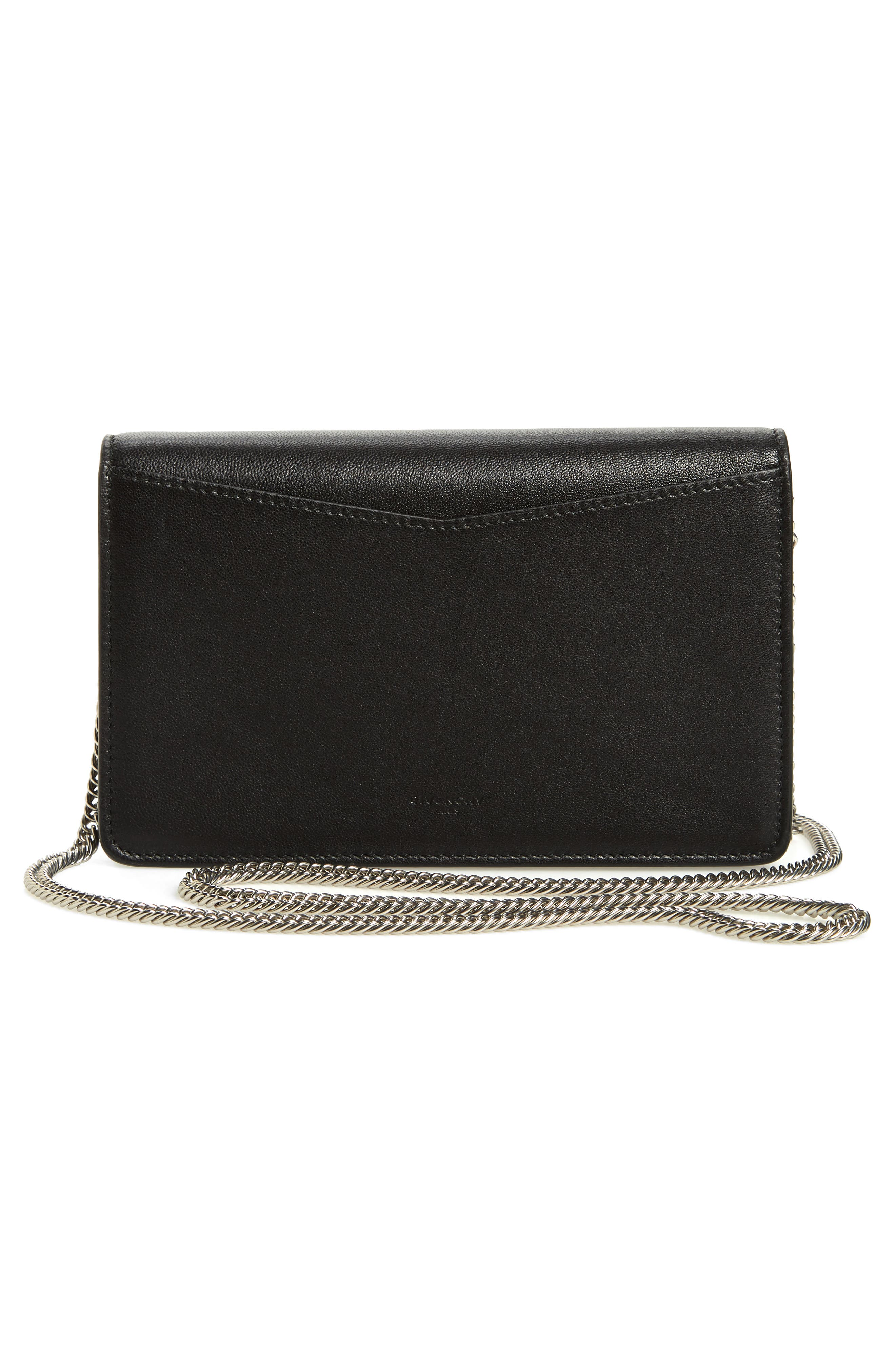 Emblem Lambskin Leather Crossbody Bag,                             Alternate thumbnail 3, color,                             BLACK