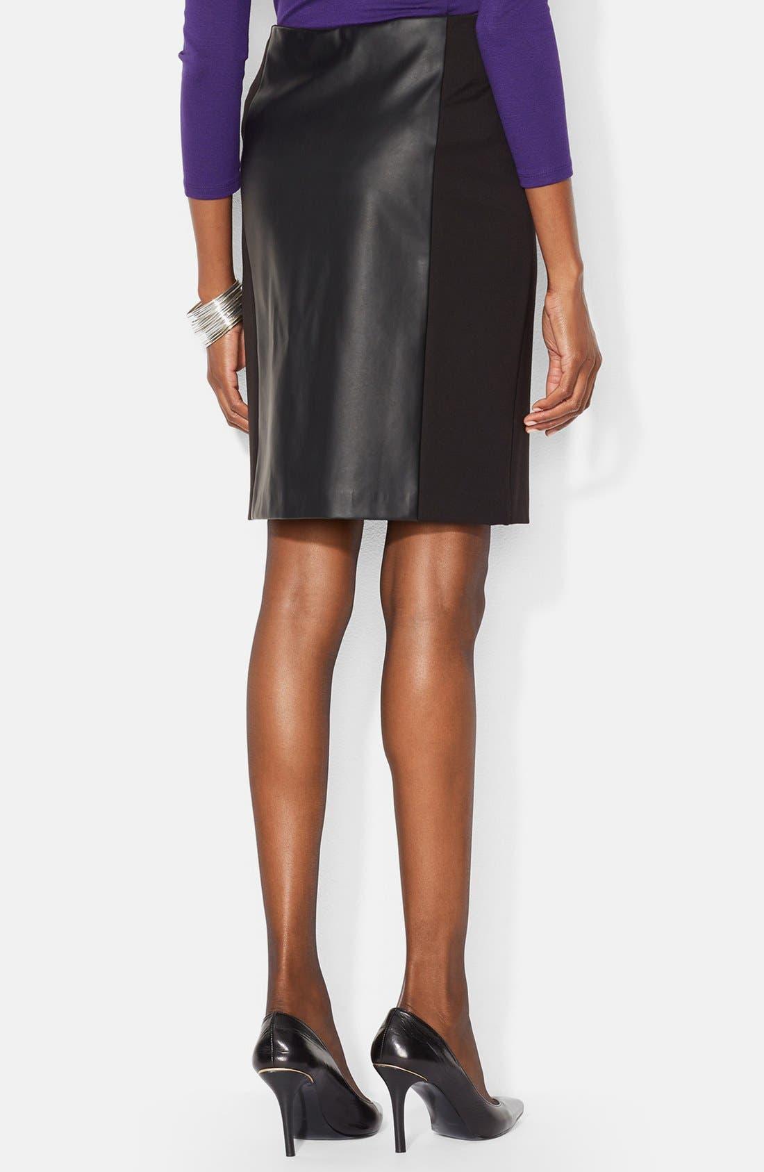Faux Leather Panel Pencil Skirt,                             Alternate thumbnail 2, color,                             001