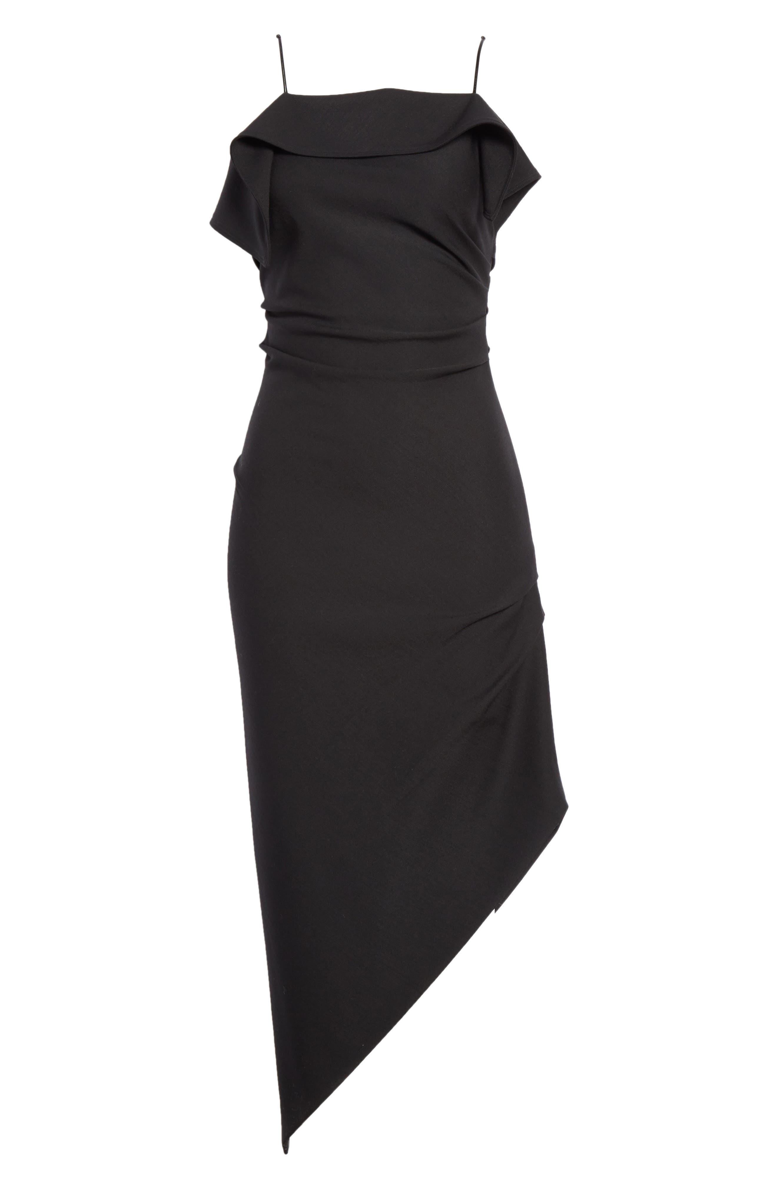 Ruffle Neck Asymmetrical Dress,                             Alternate thumbnail 6, color,                             BLACK