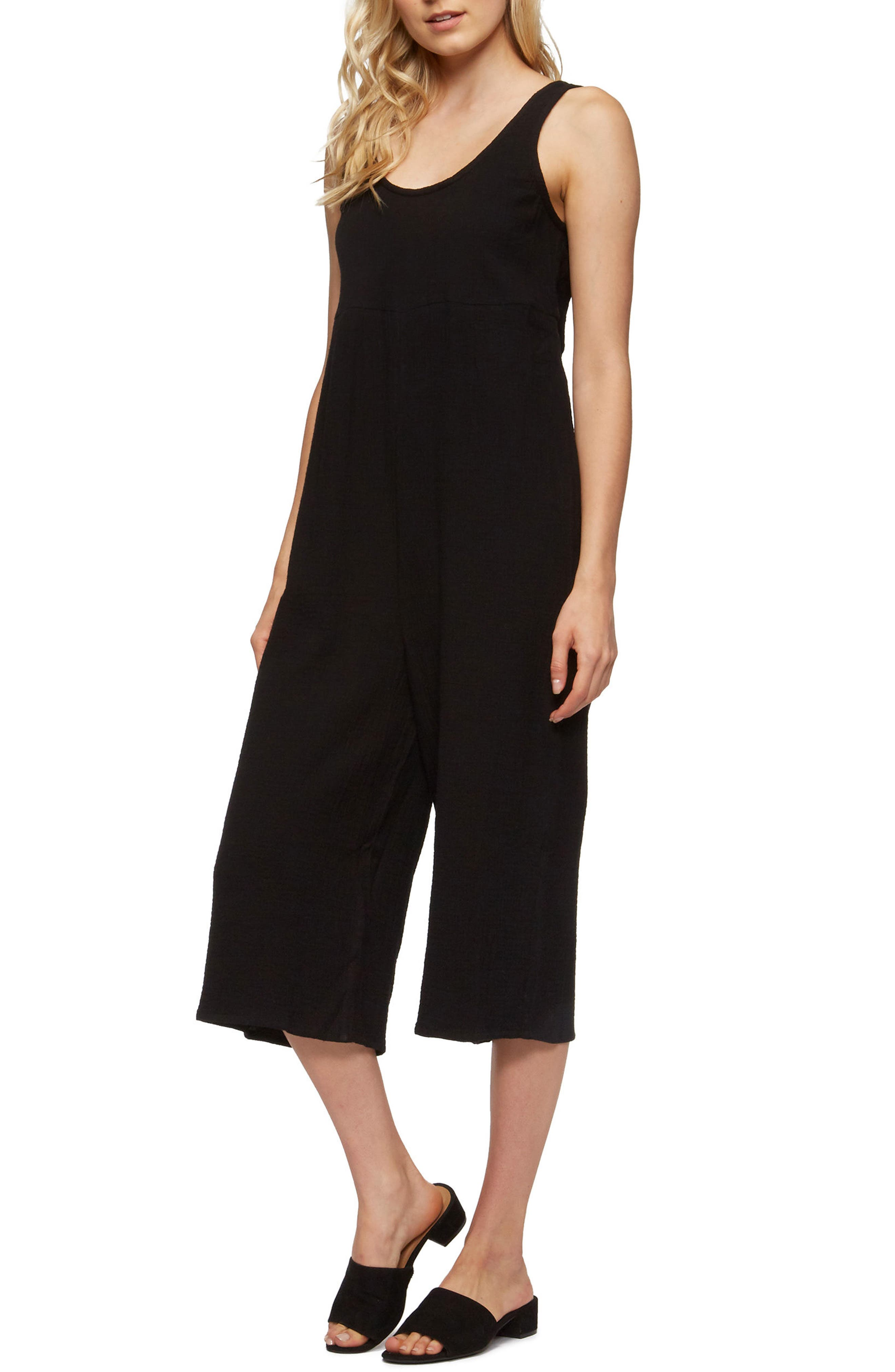 Byrony Jumpsuit Cover-Up,                             Alternate thumbnail 3, color,                             BLACK