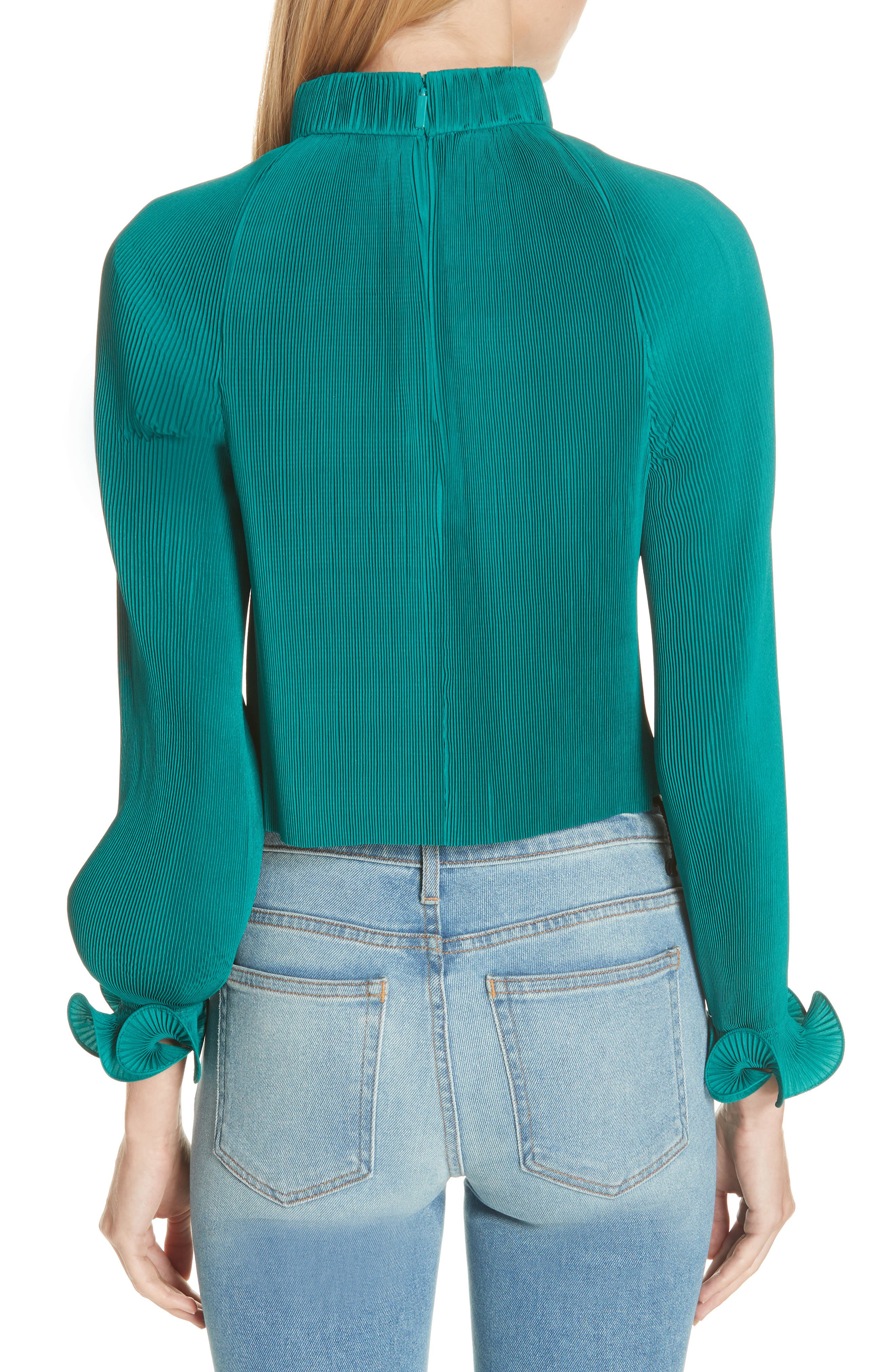 Pleated Crop Top,                             Alternate thumbnail 6, color,